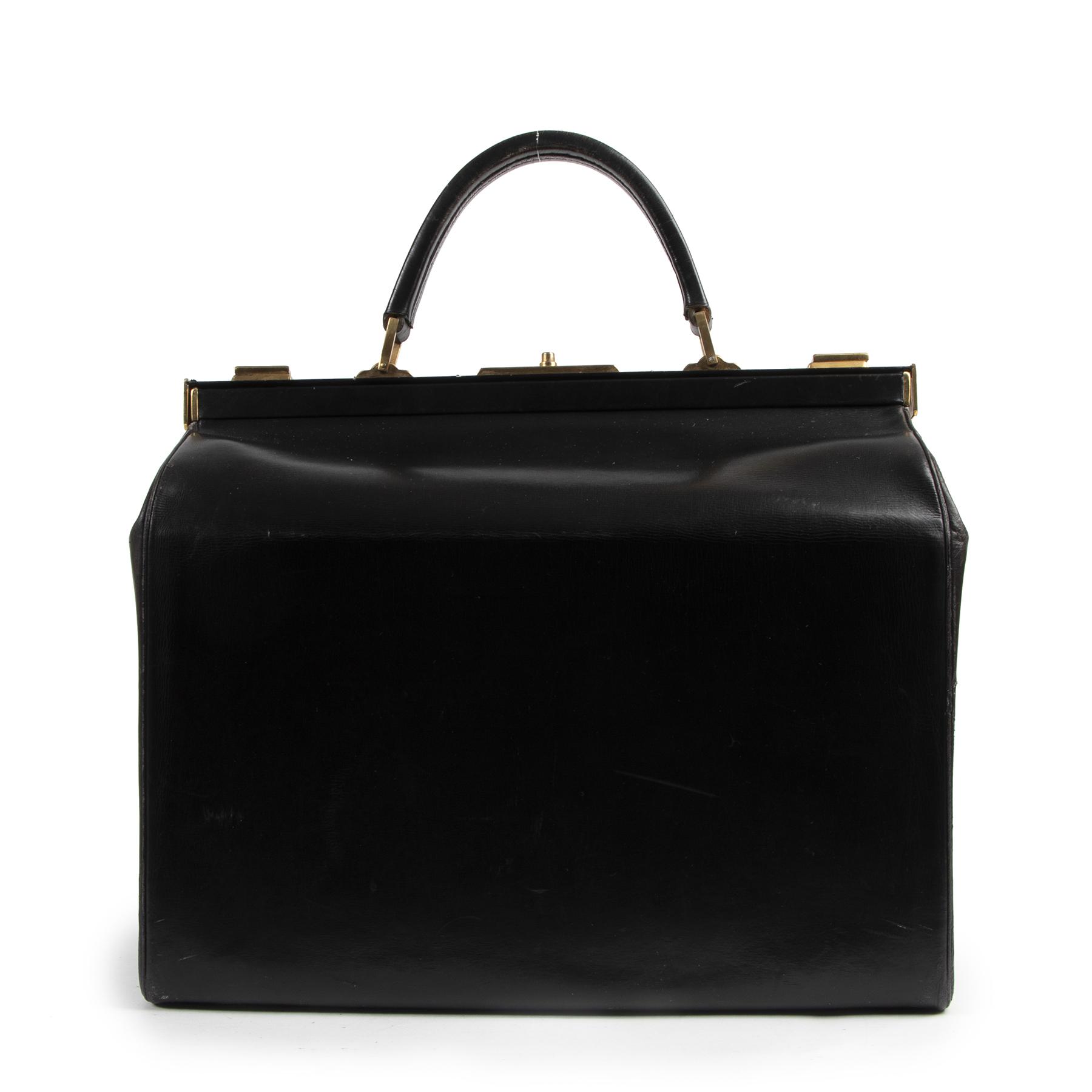 Authentieke Tweedehands Delvaux Black Leather Vintage Doctor Bag juiste prijs veilig online shoppen luxe merken webshop winkelen Antwerpen België mode fashion