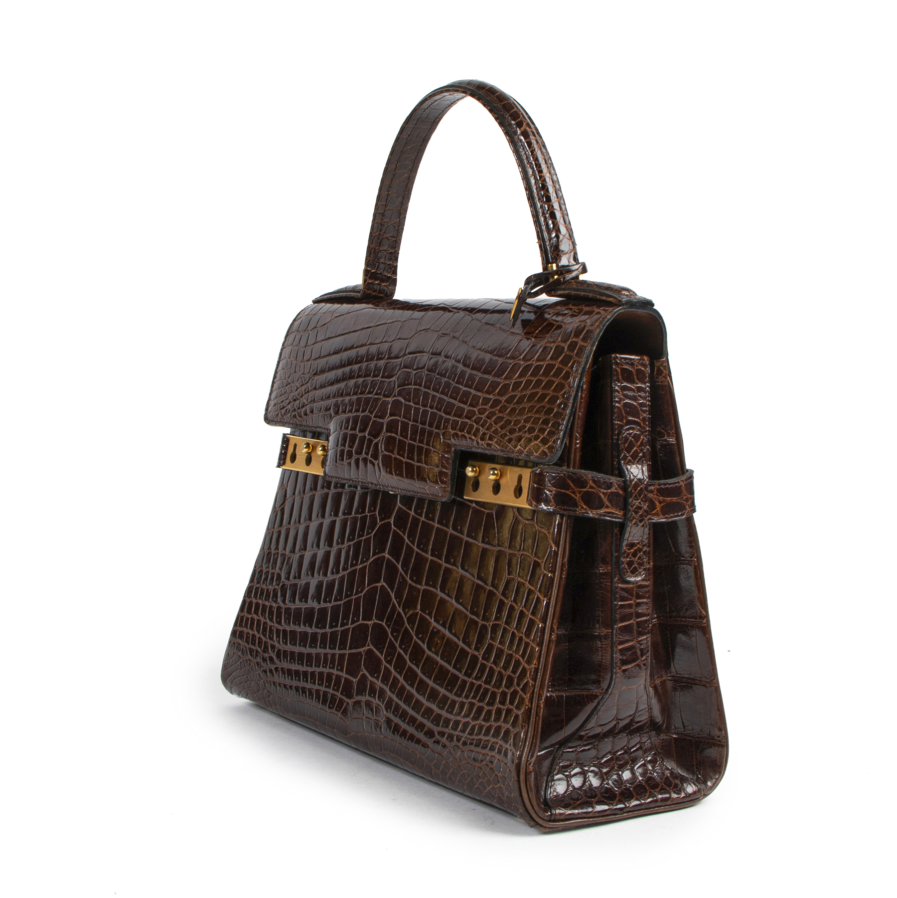 Delvaux Tempete Croco Brown GHW for the best price at Labellov secondhand