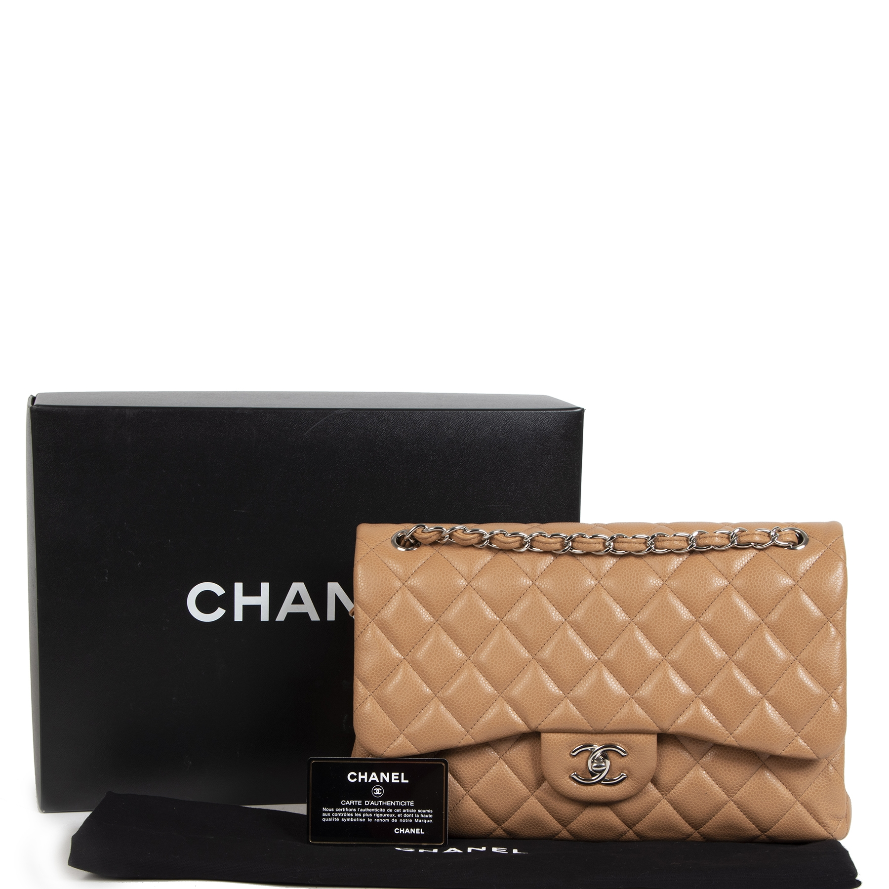 Buy and sell 100% authentic Chanel Caviar Classic Flap Bag Jumbo for the best price