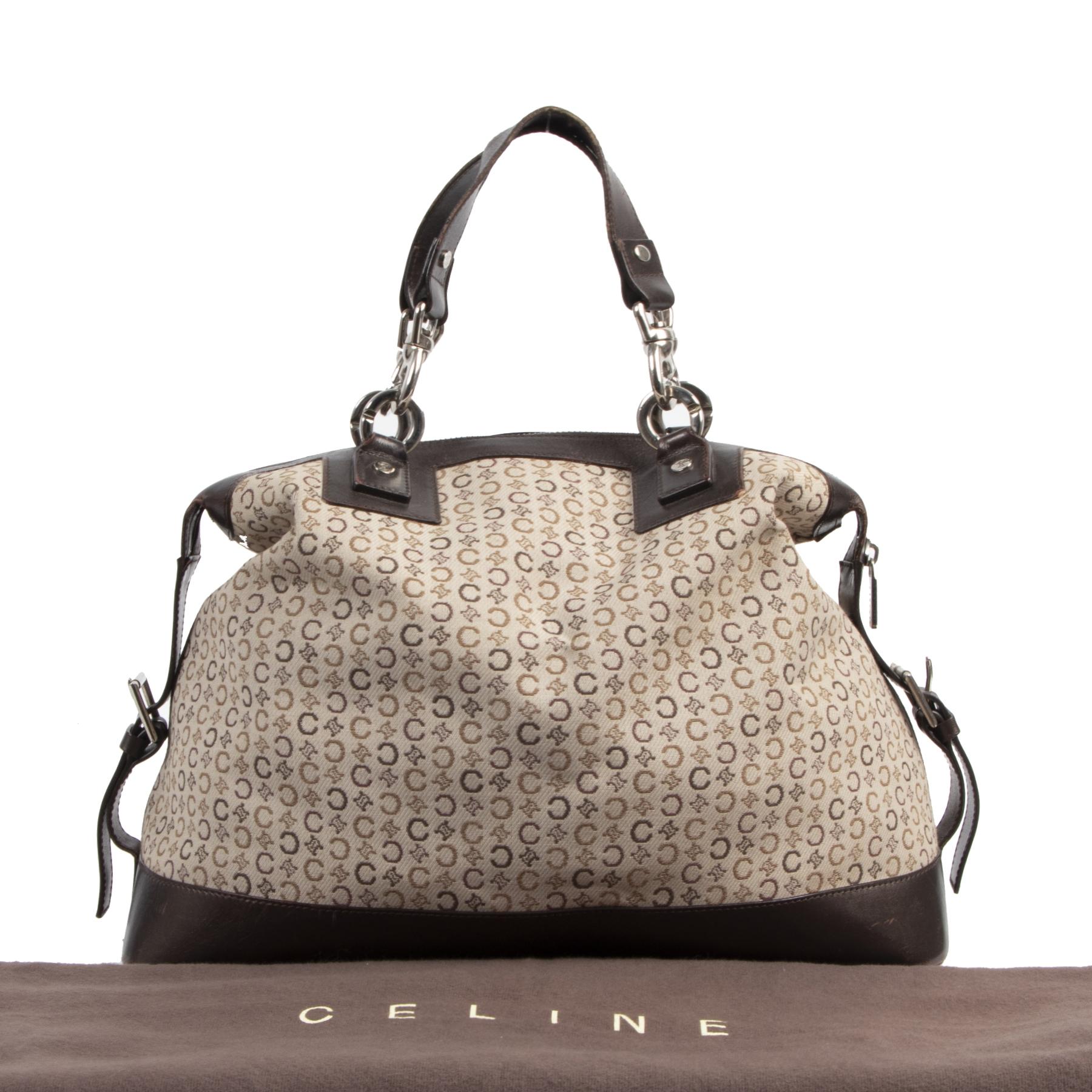 Authentic second-hand vintage Céline Brown Canvas Leather Monogram Bag buy online webshop LabelLOV