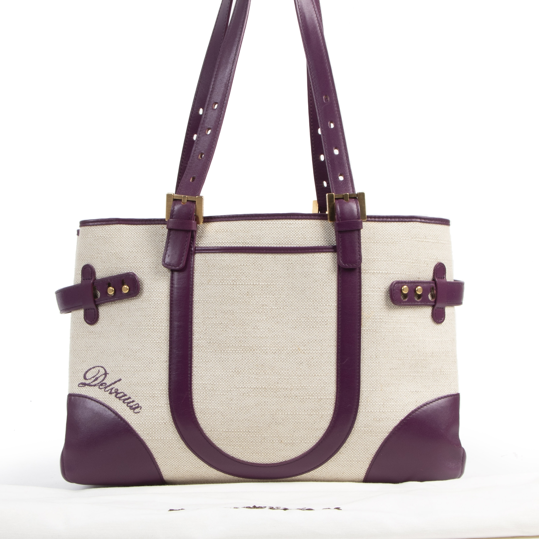 Authentieke tweedehands vintage Delvaux Tempête City MM Purple koop online webshop LabelLOV