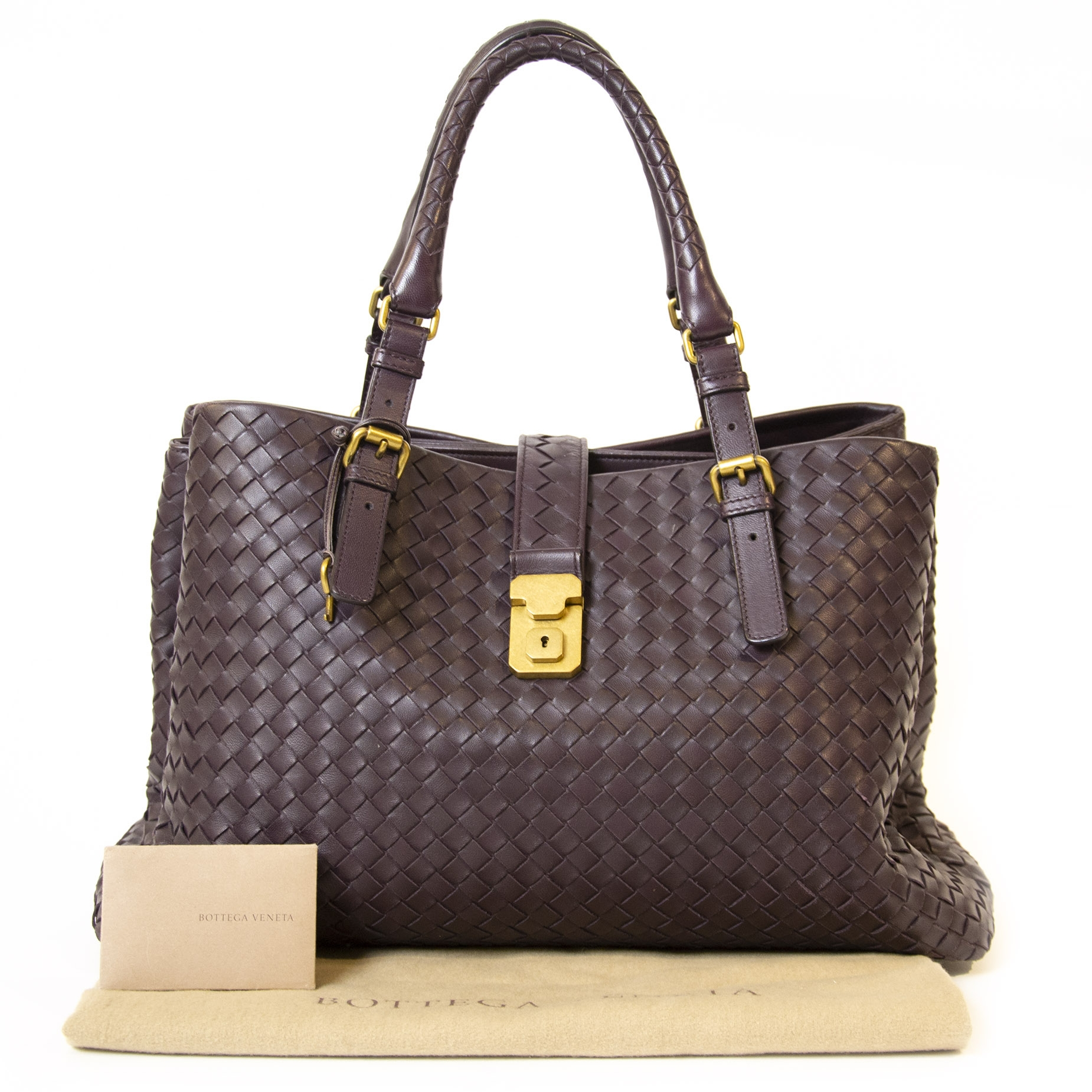 Bottega Veneta Purple Roma Bag Intrecciato
