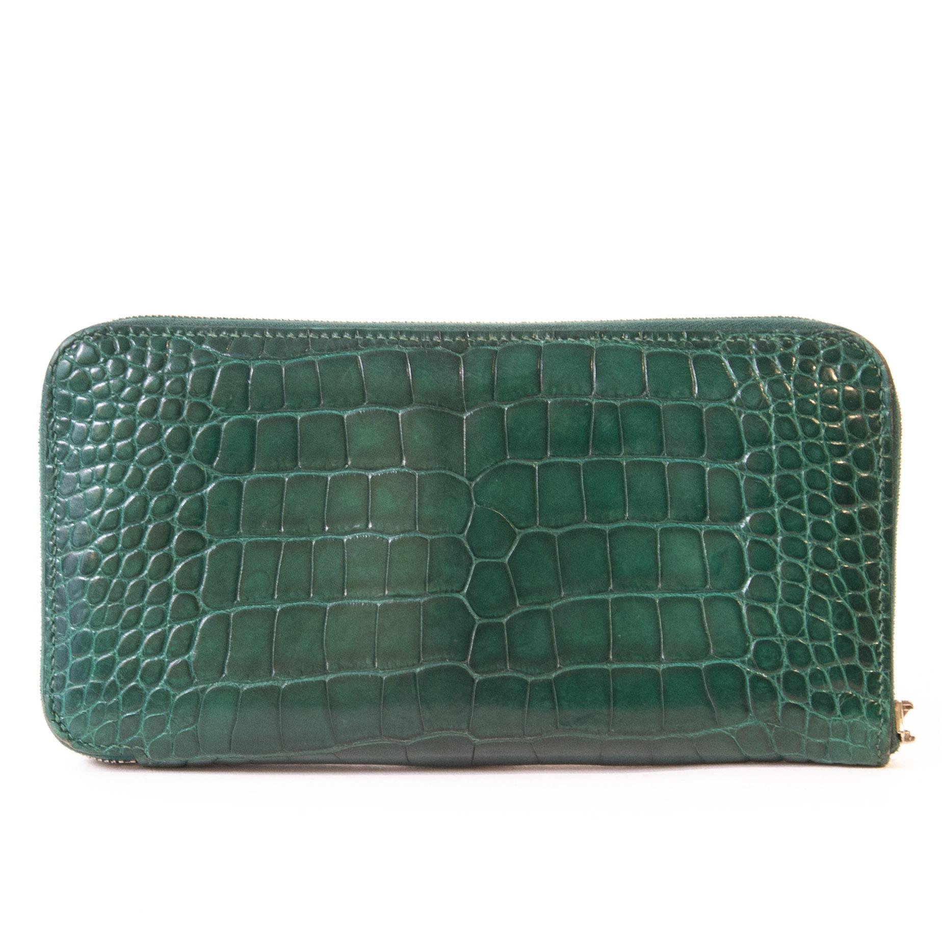 Authentieke tweedehands Hermès Azap Crocodile Green Leather Wallet juiste prijs veilig online winkelen LabelLOV webshop luxe merken winkelen Antwerpen België mode fashion