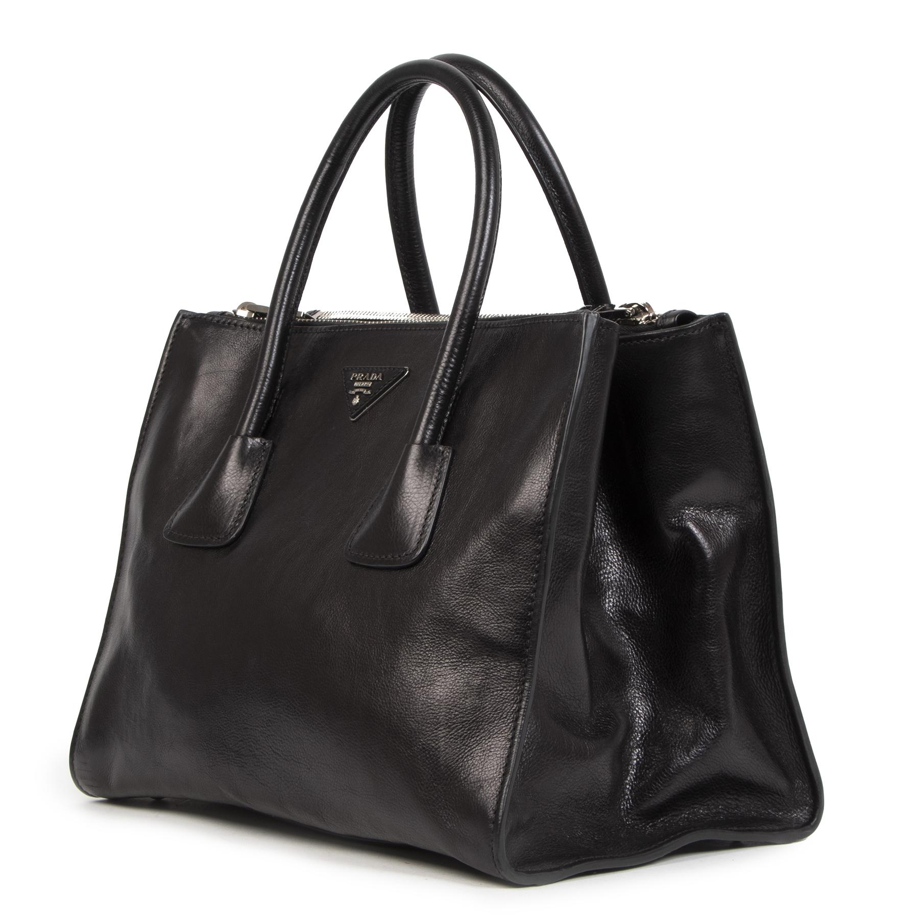 koop veilig online Prada Black Twin Pocket Tote Top Handle bag