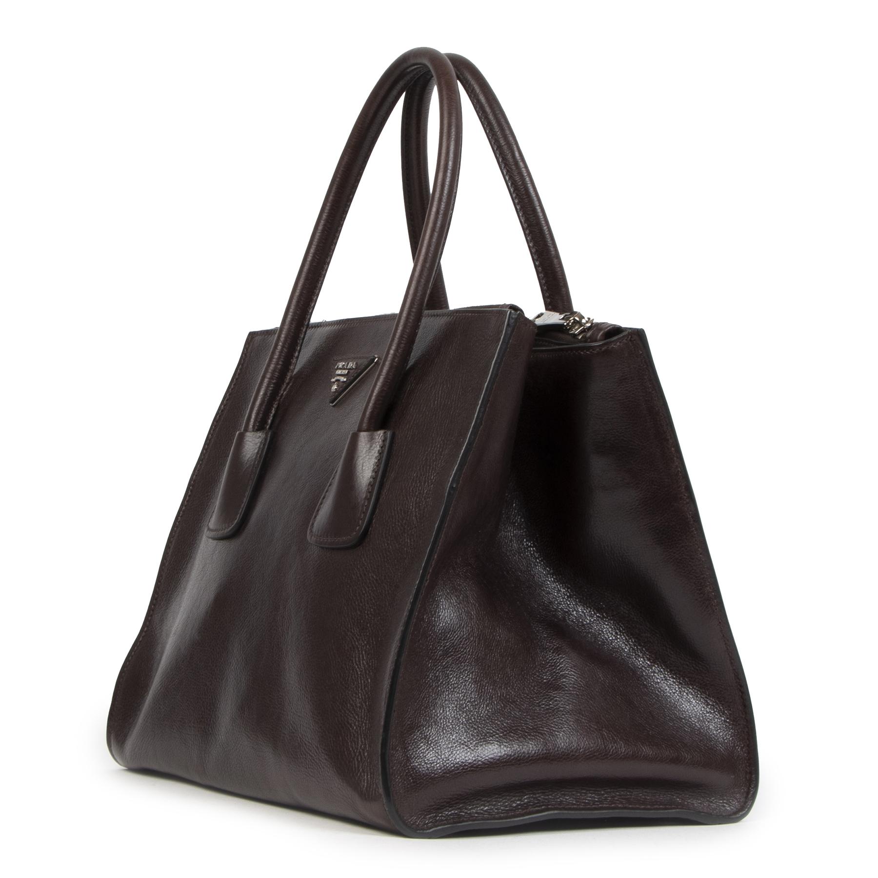 Authentieke Tweedehands Prada Burgundy Twin Pocket Tote Top Handle Bag juiste prijs veilig online shoppen luxe merken webshop winkelen Antwerpen België mode fashion