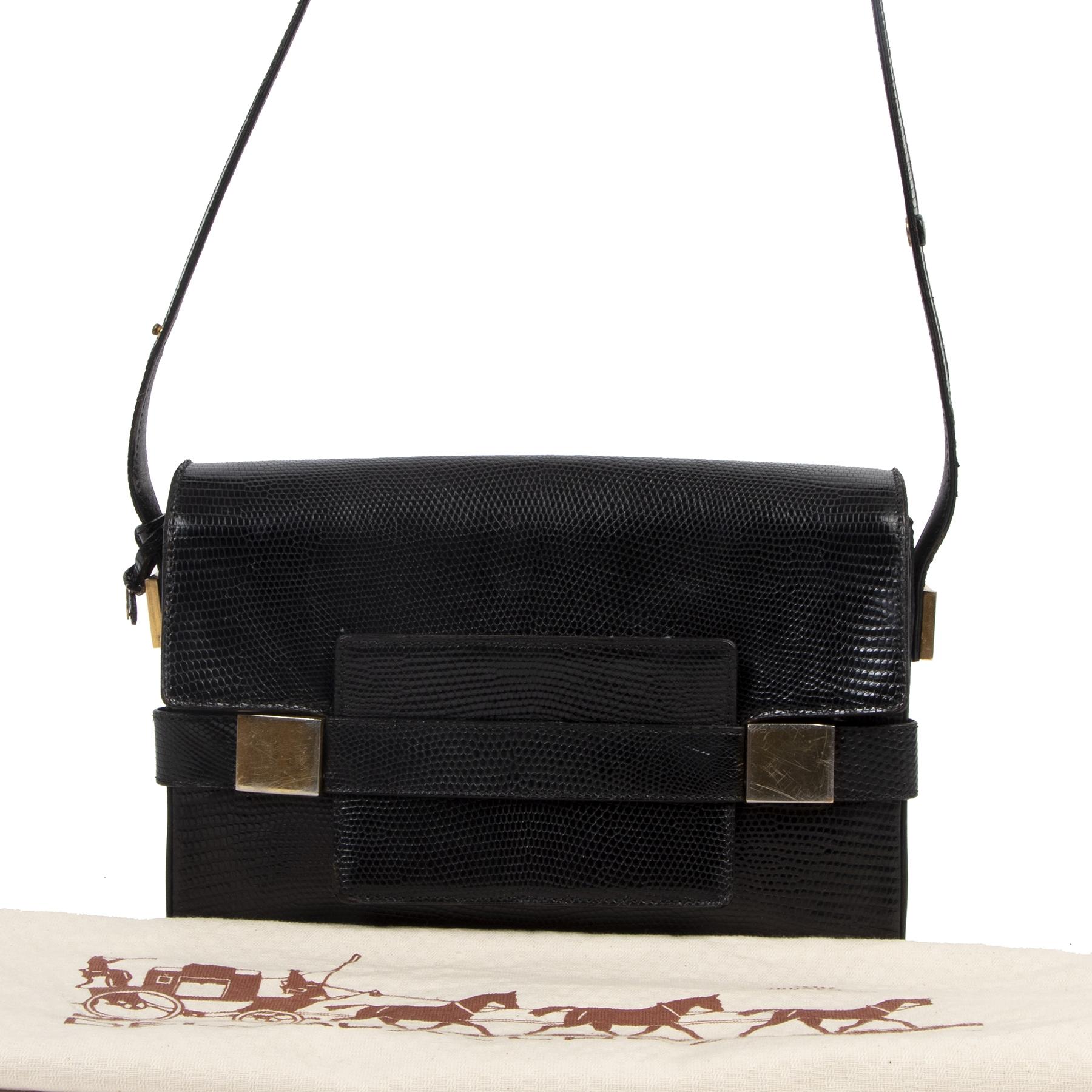 Authentieke tweedehands vintage Delvaux Black Madame Lizard Shoulder Bag koop online webshop LabelLOV
