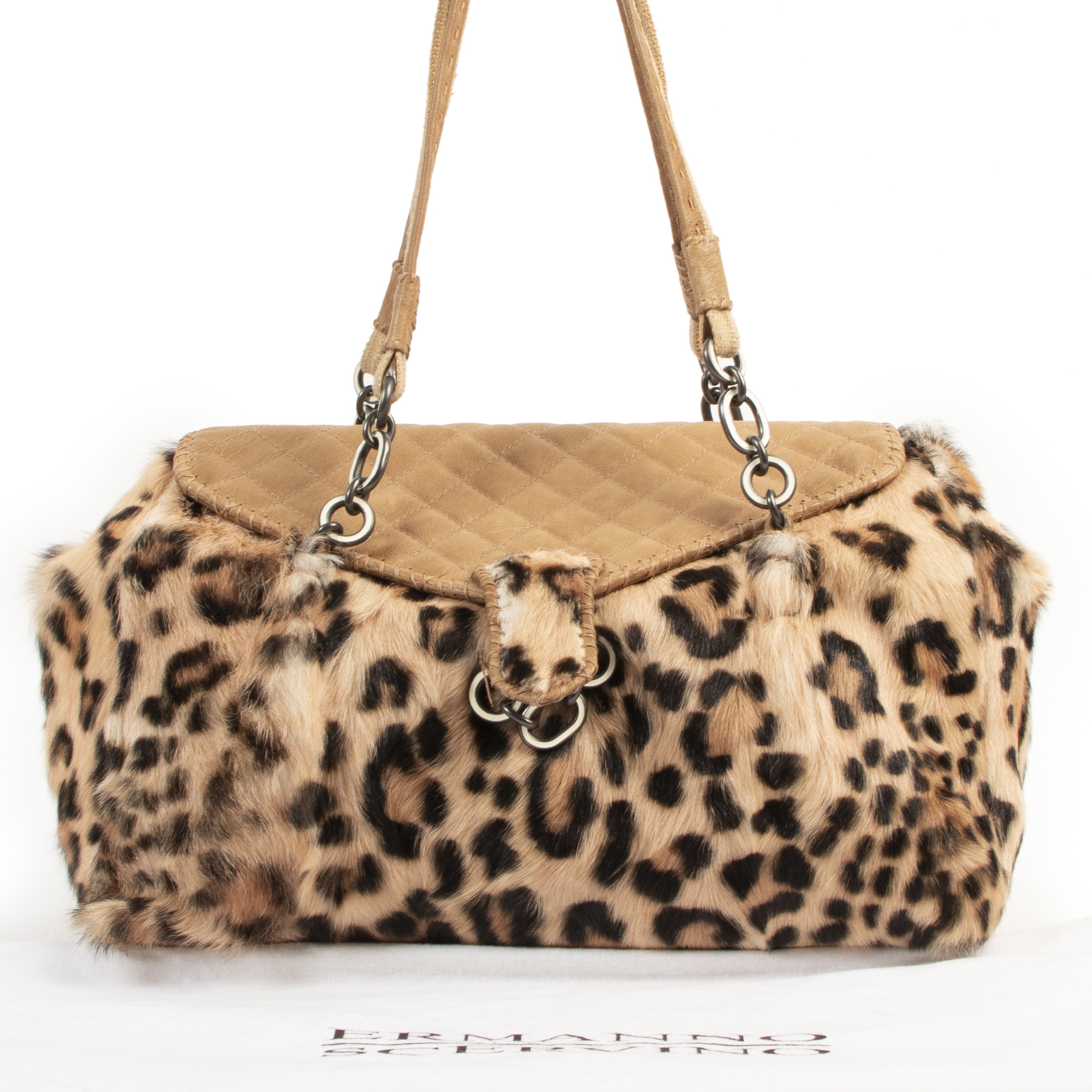Ermanno Scervino Brown Leopard Shoulder Bag