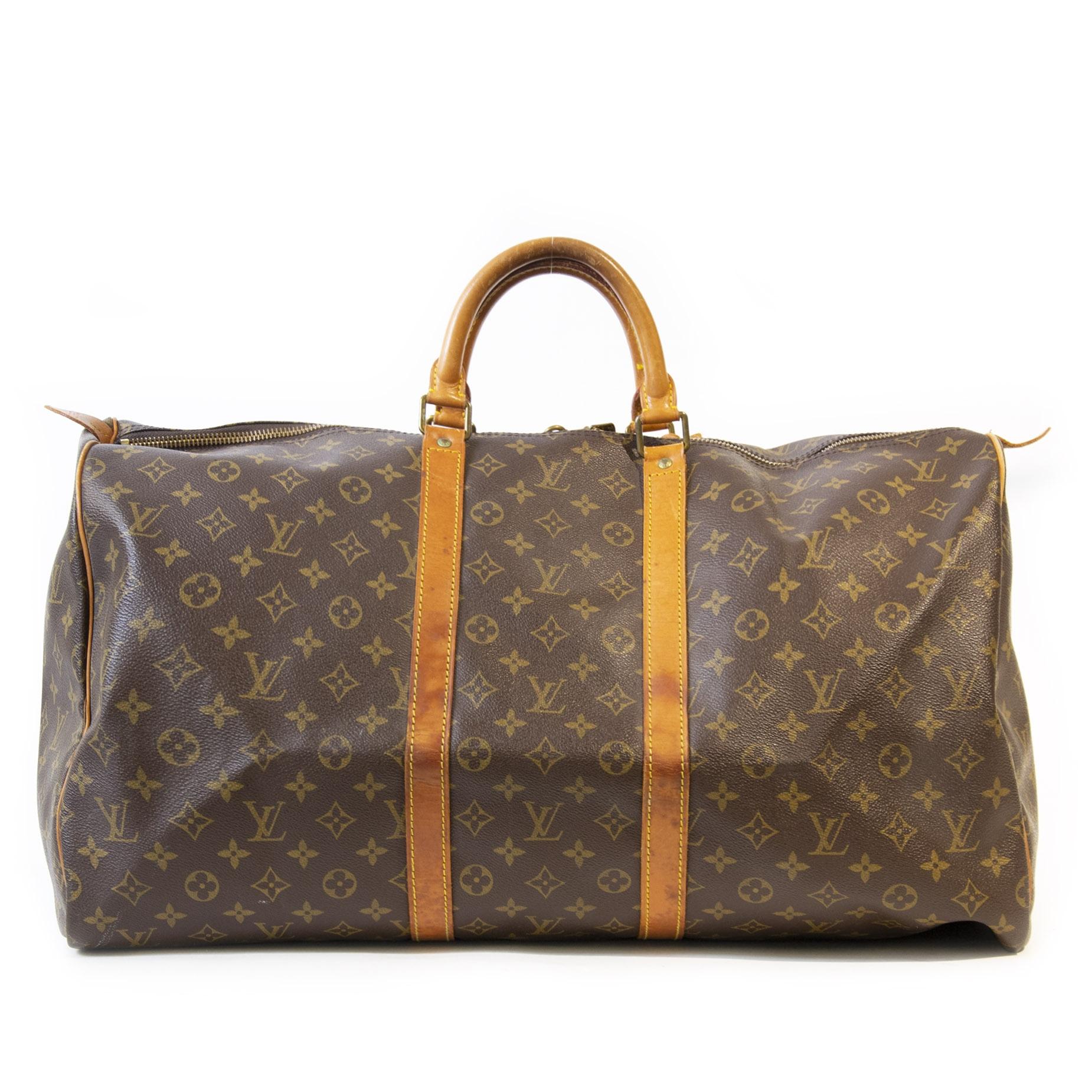 Authentieke Tweedehands Louis Vuitton Monogram Keepall 55 juiste prijs veilig online shoppen luxe merken webshop winkelen Antwerpen België
