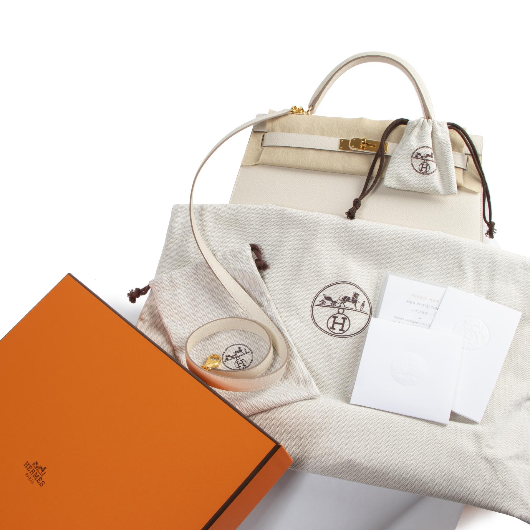 Koop en verkoop uw authentieke designer handtassen aan de beste prijs Hermès Kelly 32 Epsom Craie GHW