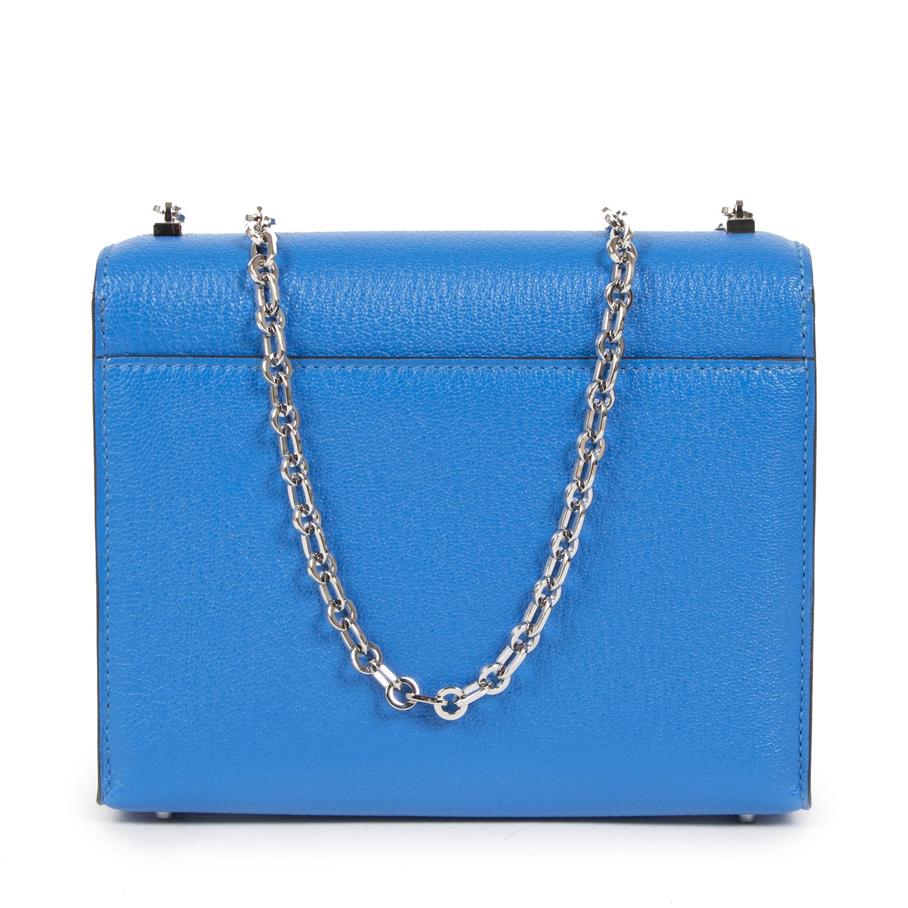 Authentieke Tweedehands Hermès Sac Verrou Chaine Mini Chevre Mysore 17 Bleu Hydra juiste prijs veilig online shoppen luxe merken webshop winkelen Antwerpen België mode fashion