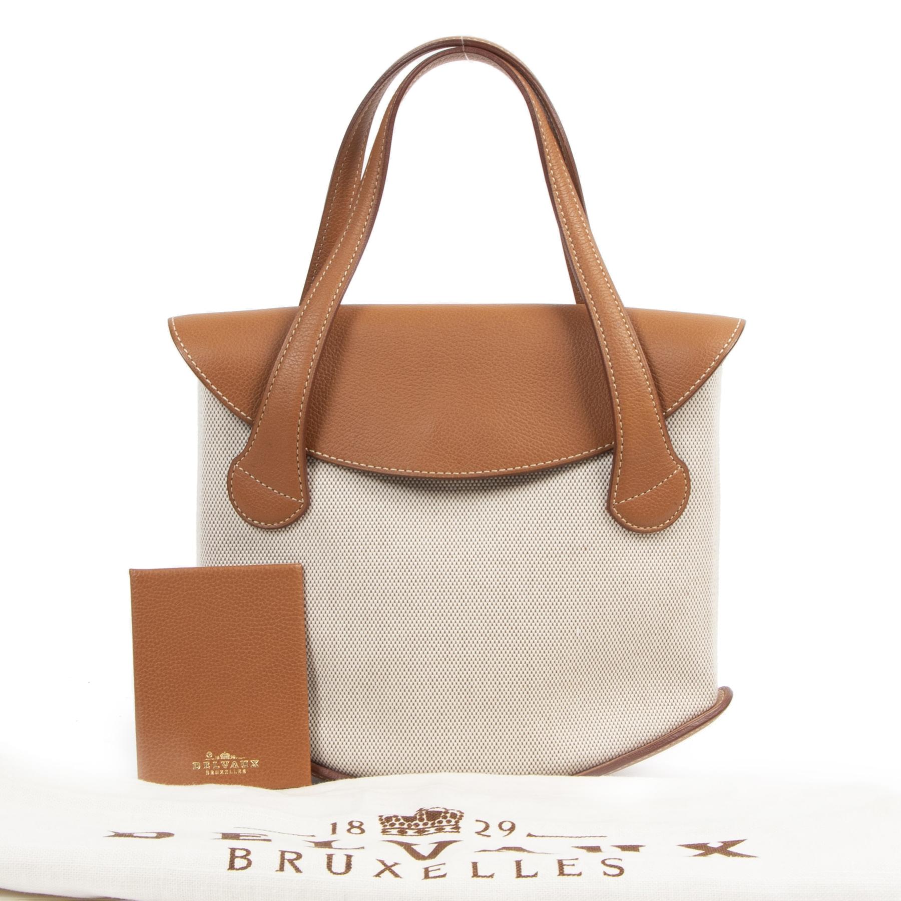 Authentic secondhand Delvaux Mémoire Cognac Leather Canvas Handbag designer bags fashion luxury vintage webshop safe secure online shopping