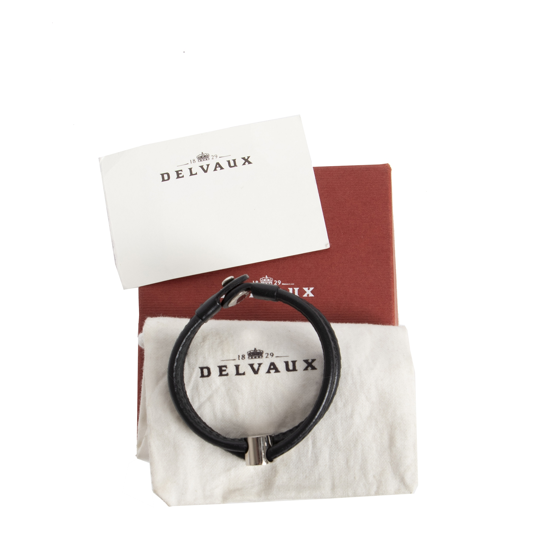 Authentic secondhand Delvaux Black Leather Bracelet Silver D designer accessories luxury vintage webshop designer brands fashion online shopping