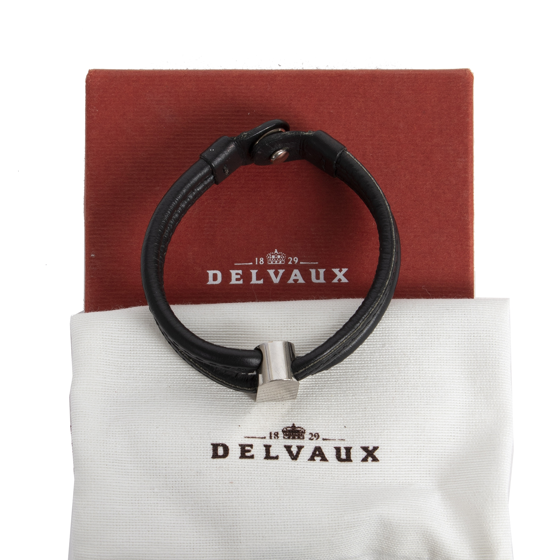 Authentic secondhand Delvaux Black Leather Bracelet Silver D designer accessories designer brands fashion luxury vintage webshop safe secure online shopping