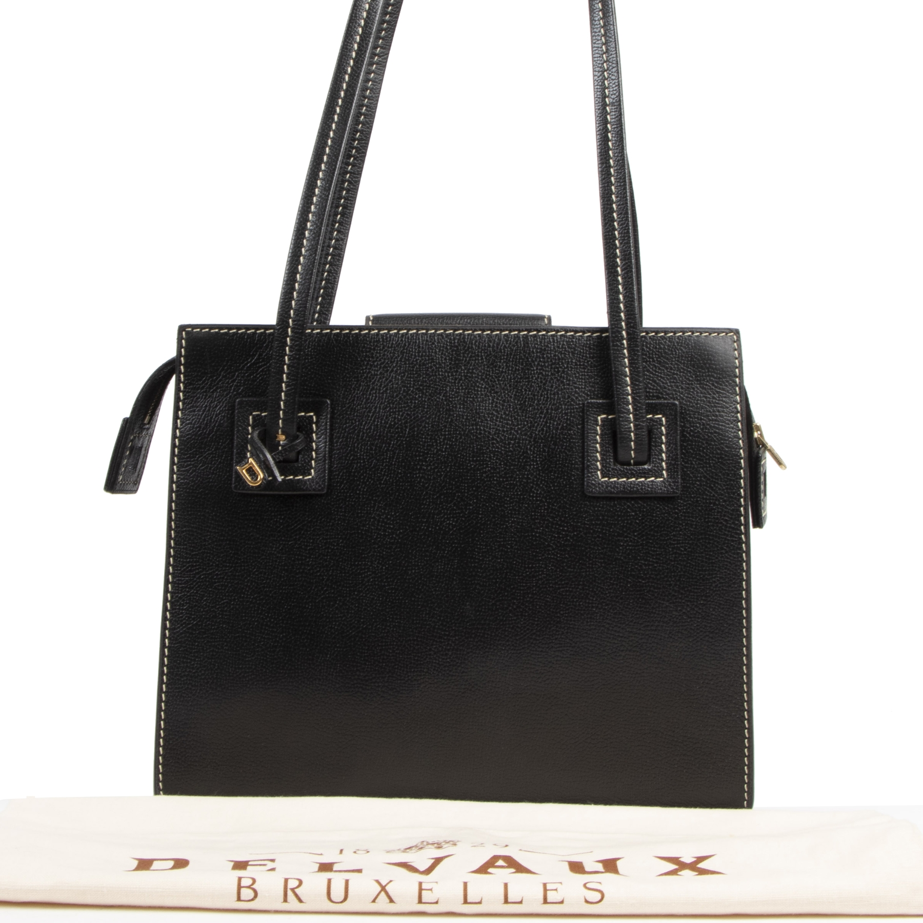 Authentic second-hand vintage Delvaux Black Double Strap Shoulder Bag buy online webshop LabelLOV