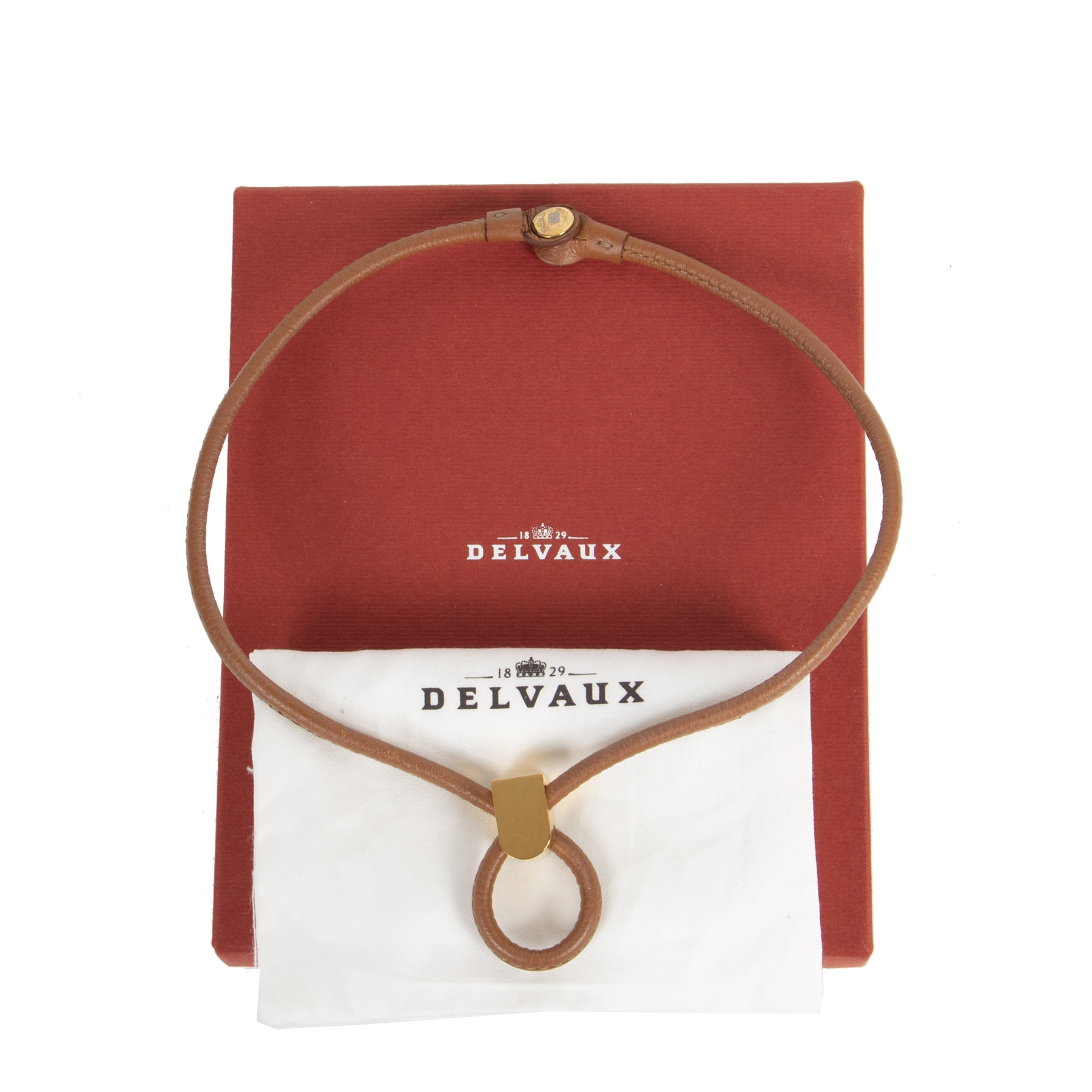 Authentic secondhand Delvaux Cognac Leather Collar Necklace designer accessories fashion luxury vintage webshop designer brands safe secure online shopping worldwide shipping