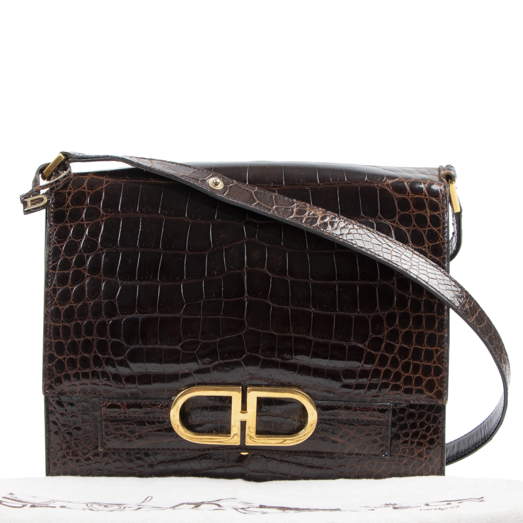 Delvaux Brown Croco Bourgogne Shoulder Bag