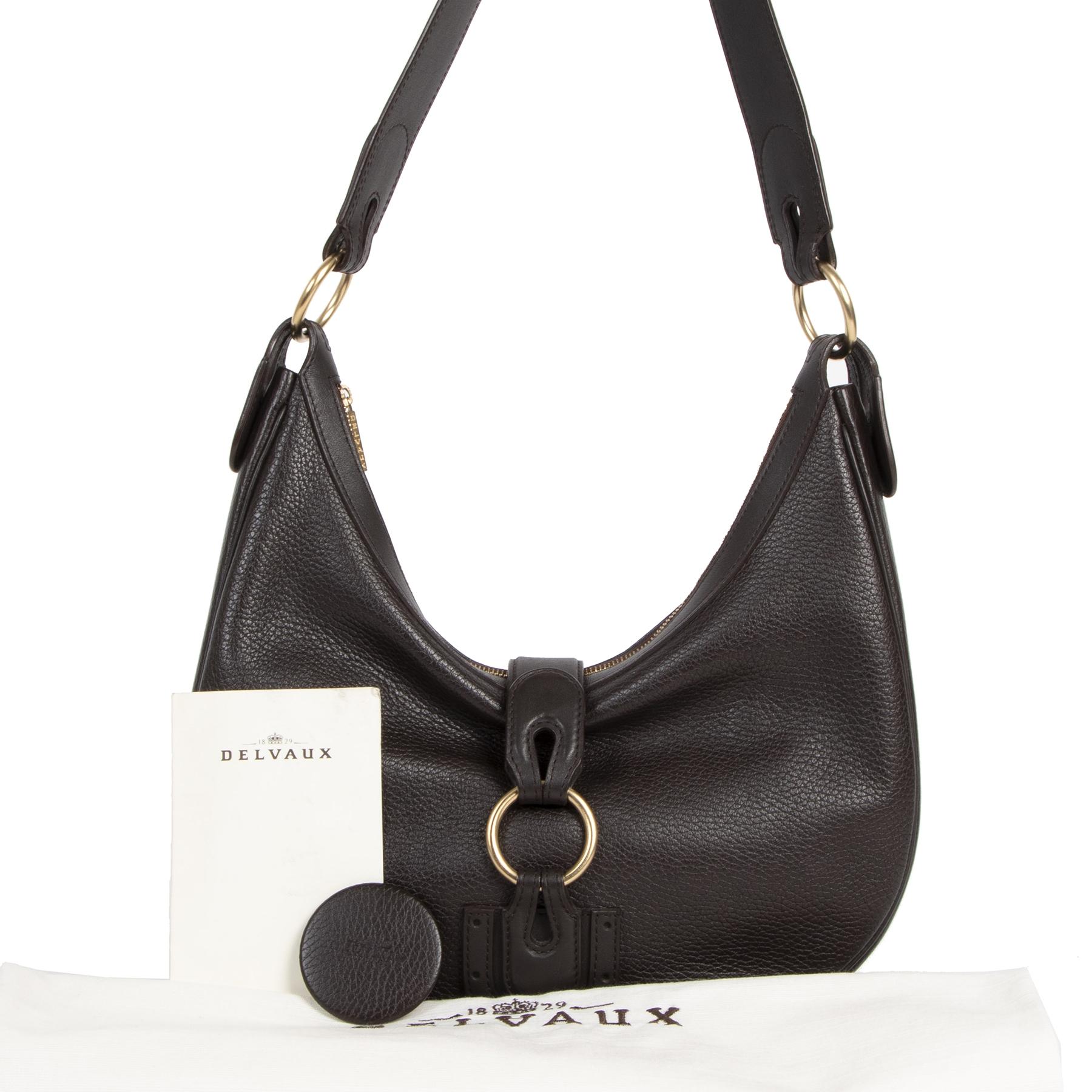 Authentieke Tweedehands Delvaux Dark Brown Leather Camille Pm Shoulder Bag juiste prijs veilig online shoppen luxe merken webshop