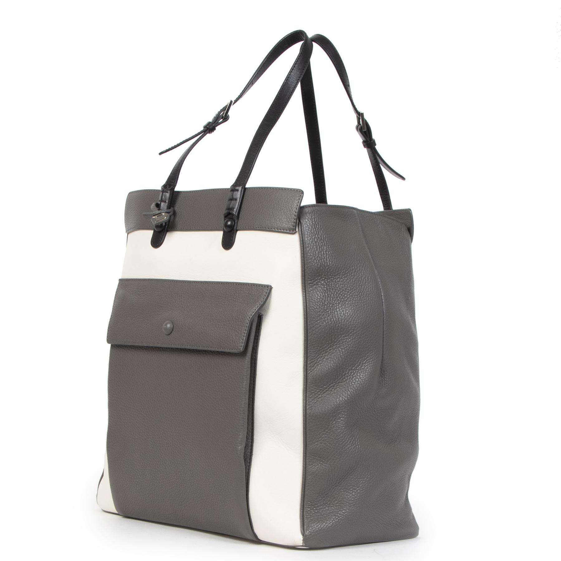 Authentieke Tweedehands Delvaux Desinvolte Allure Tricolor Tote Shoulder Bag juiste prijs veilig online shoppen luxe merken webshop winkelen Antwerpen België mode fashion
