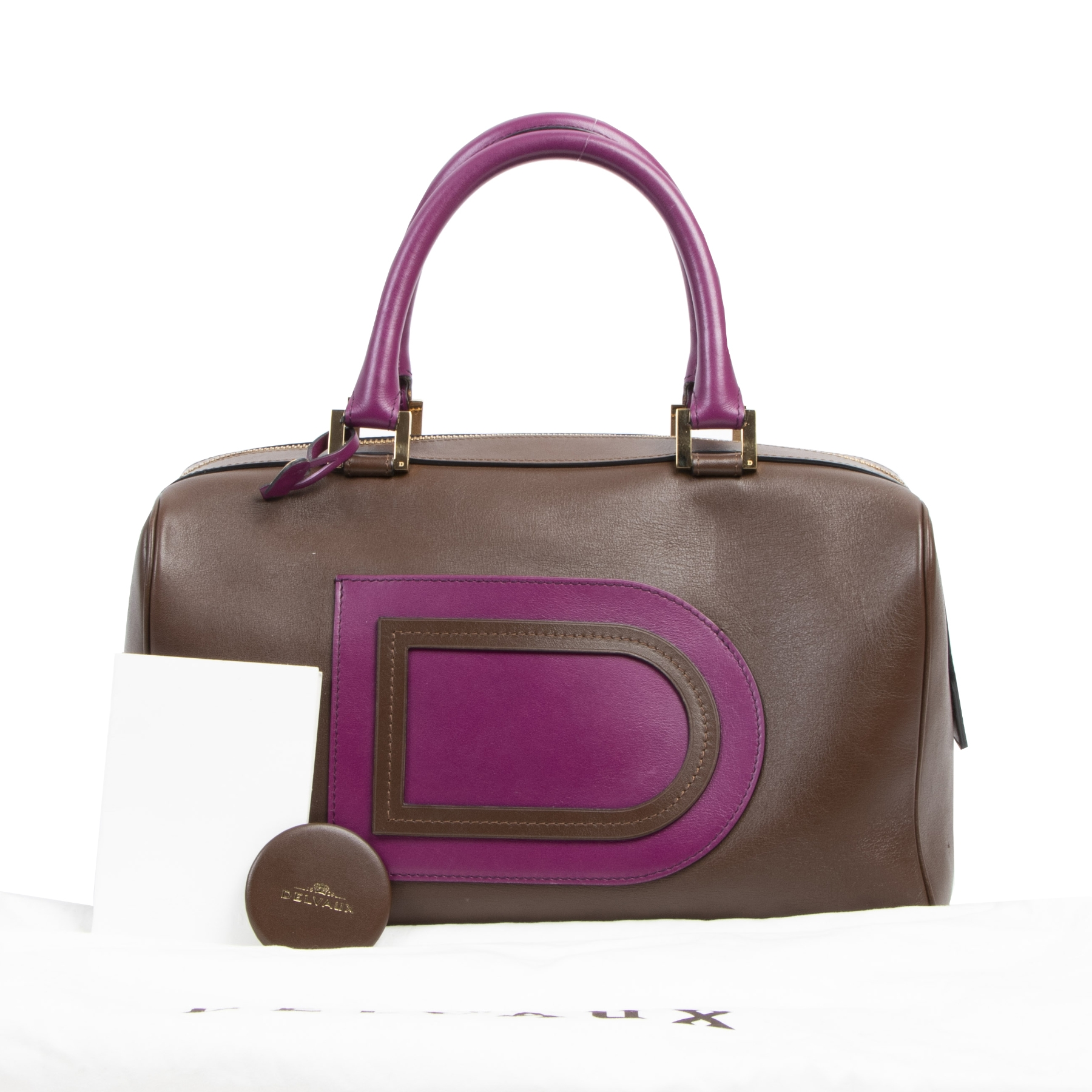 Delvaux Louise Boston Allure Brown & Purple Bag for sale online at Labellov secondhand