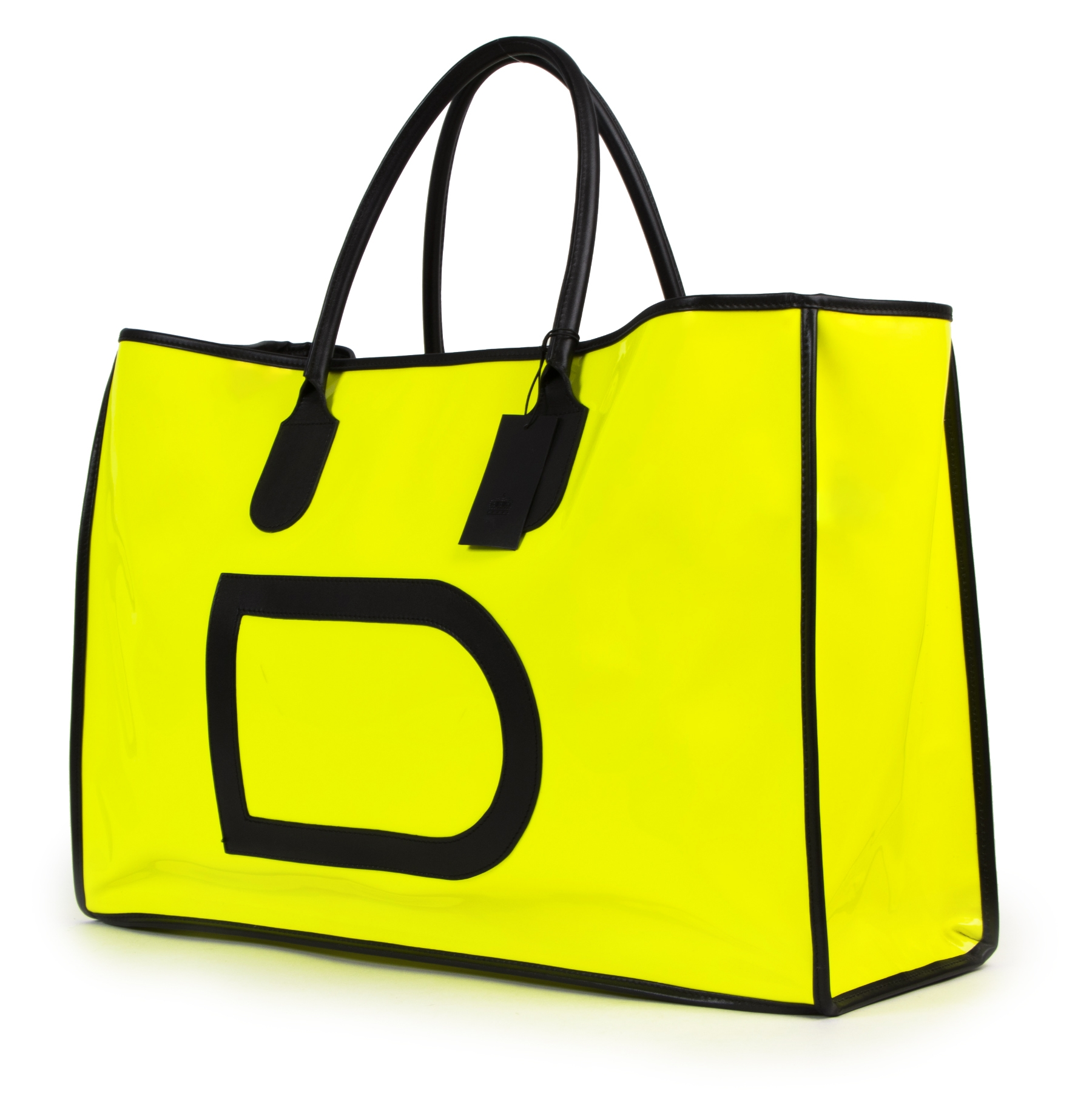 Delvaux Taxi Vernis Neon Yellow Travel Bag
