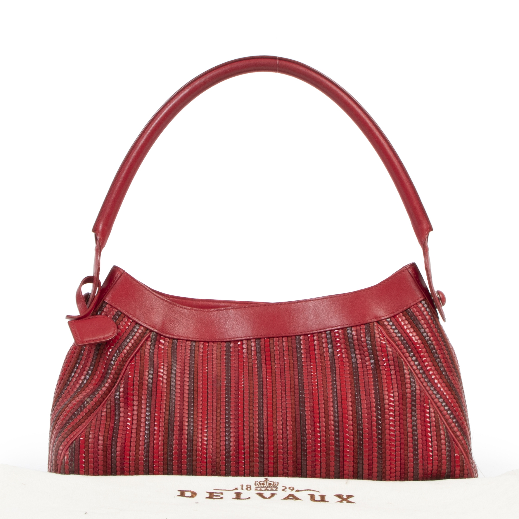 Delvaux Red Toile de Cuir Shoulder Bag