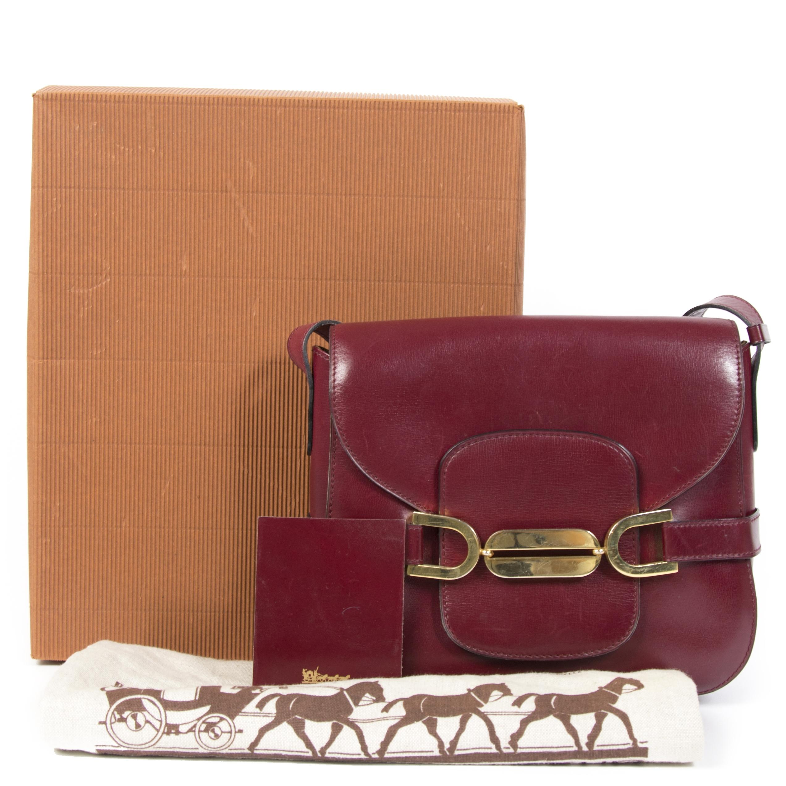 Authentieke Tweedehands Delvaux Burgundy Gold Crossbody Bag juiste prijs veilig online shoppen luxe merken webshop winkelen Antwerpen België mode fashion