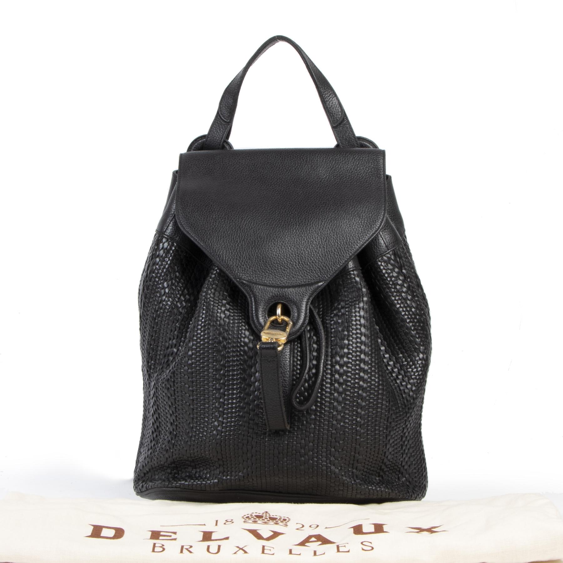 Authentieke tweedehands vintage Delvaux Black Toile De Cuir Backpack koop online webshop LabelLOV