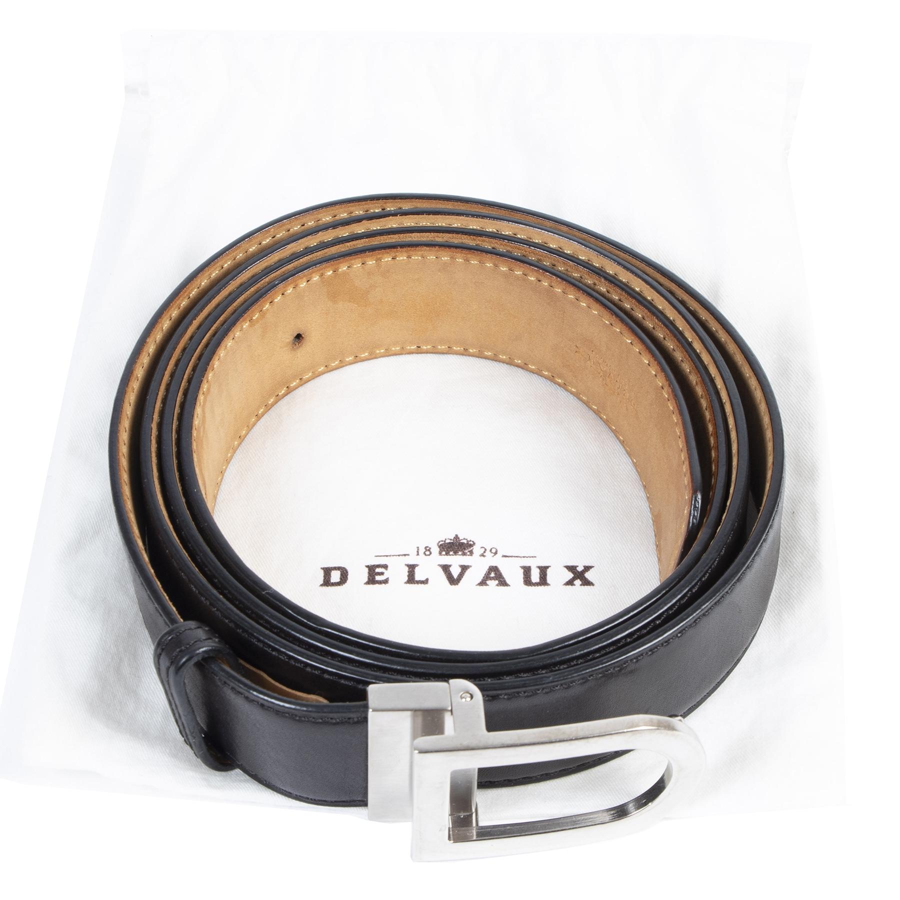 Authentic secondhand Delvaux Black Leather Silver D Belt - Size 120 designer accessories fashion luxury vintage webshop safe secure online shopping