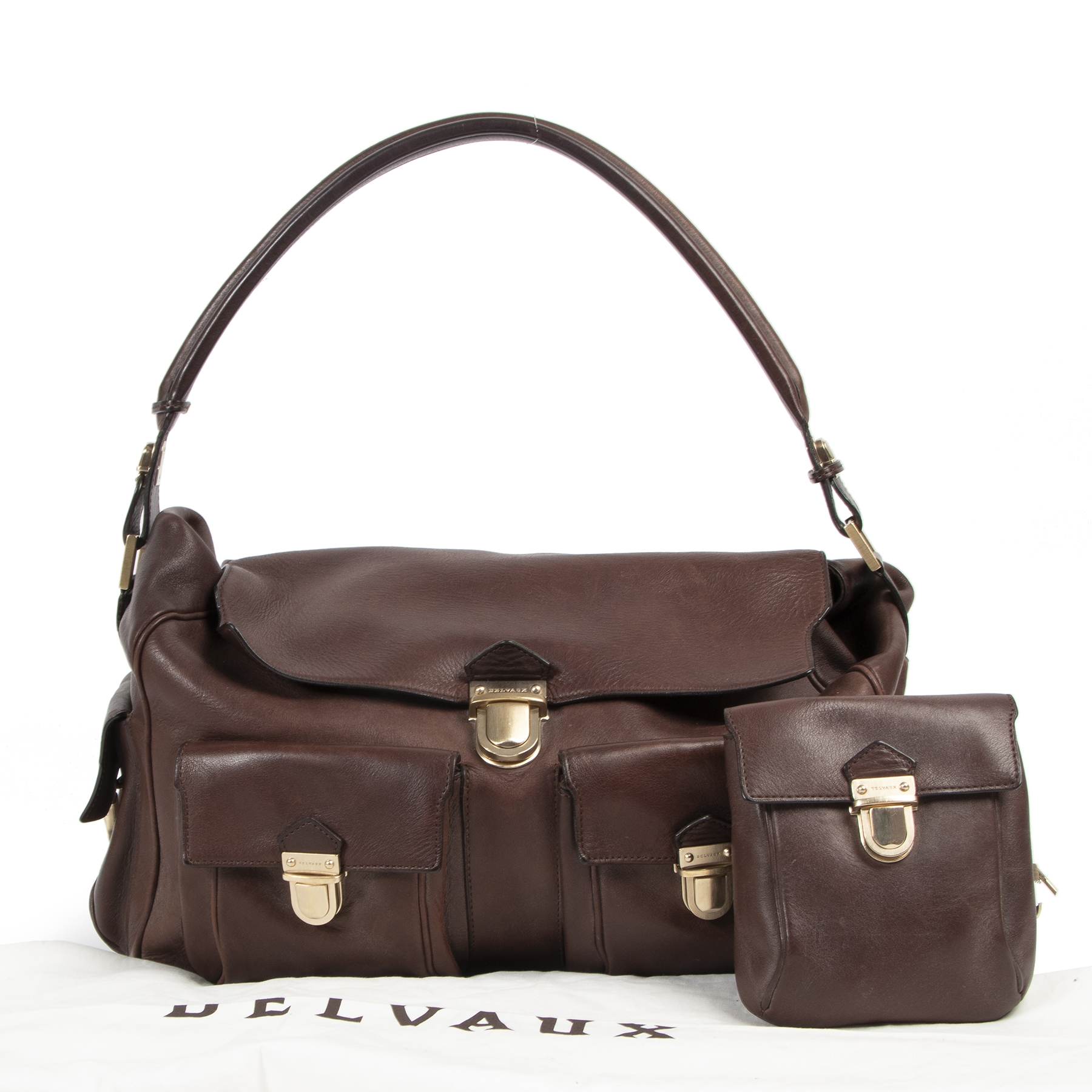 koop en verkoop uw authentieke designer handtassen aan de beste prijs Delvaux Coquin Poches Brown Bridon Shoulder Bag