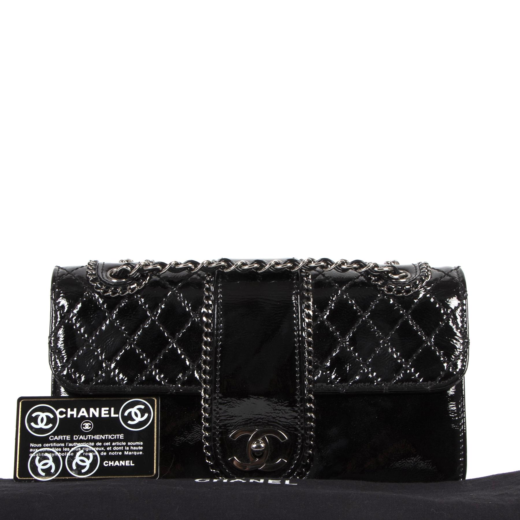 Authentic secondhand Chanel Black Patent Leather Madison Flap Bag designer bags luxury vintage webshop fashion safe secure online shopping