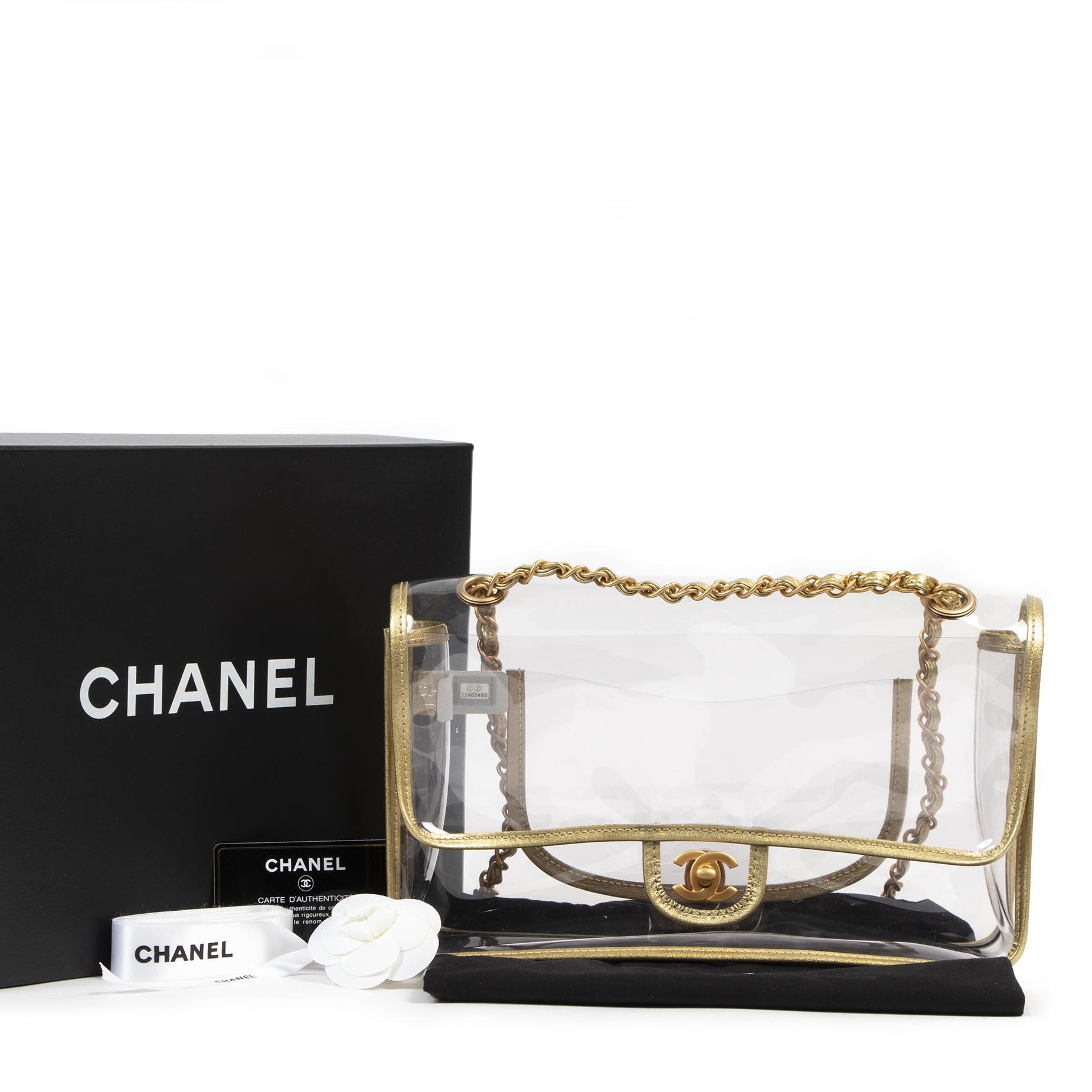Authentieke Tweedehands As New Chanel Transparent PVC Classic Flap Bag juiste prijs veilig online shoppen luxe merken webshop winkelen Antwerpen België mode fashion