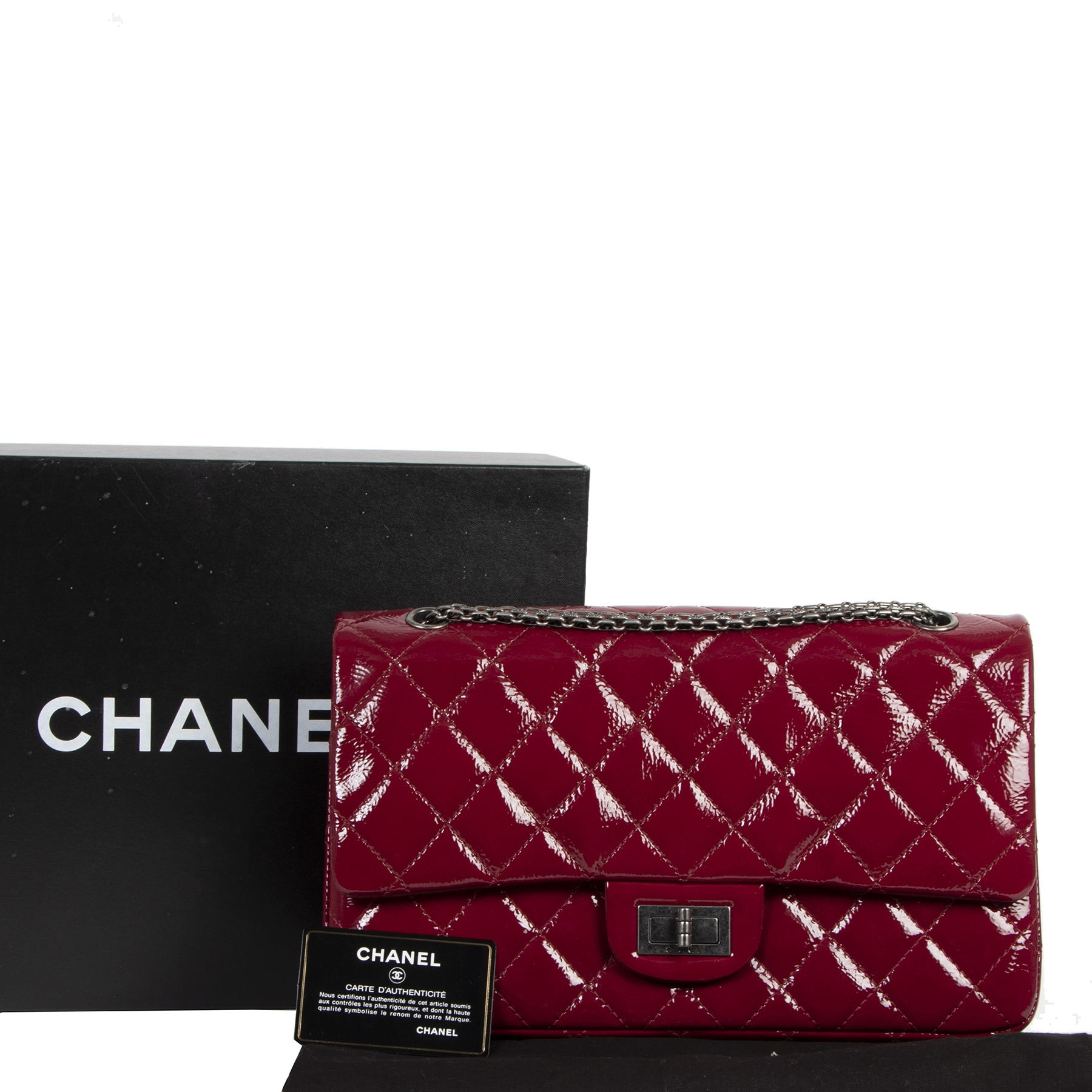 Chanel 2.55 Reissue Jumbo Double Flap Cranberry Patent Leather Bag