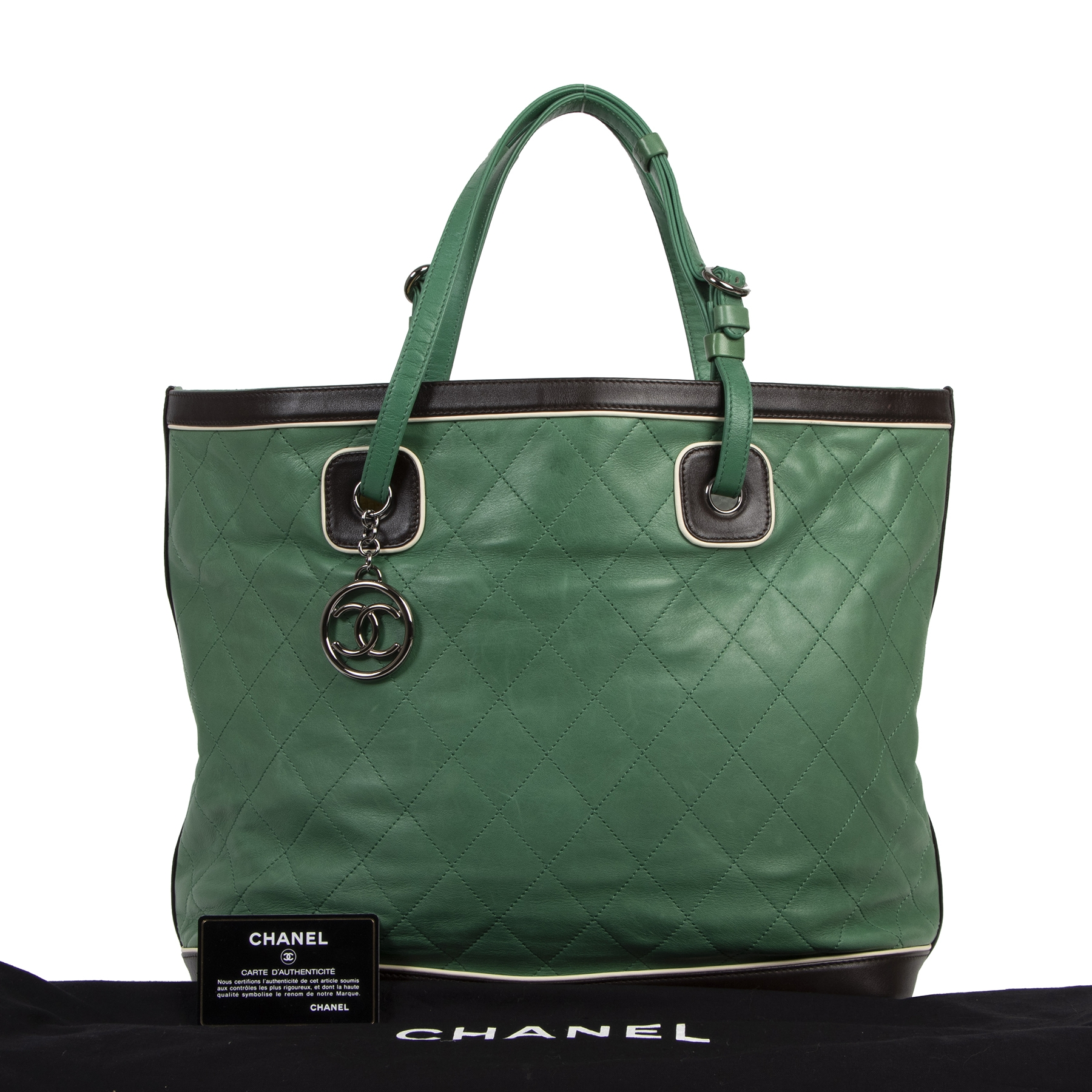 Authentieke tweedehands vintage Chanel Green Country Club Tote koop online webshop LabelLOV