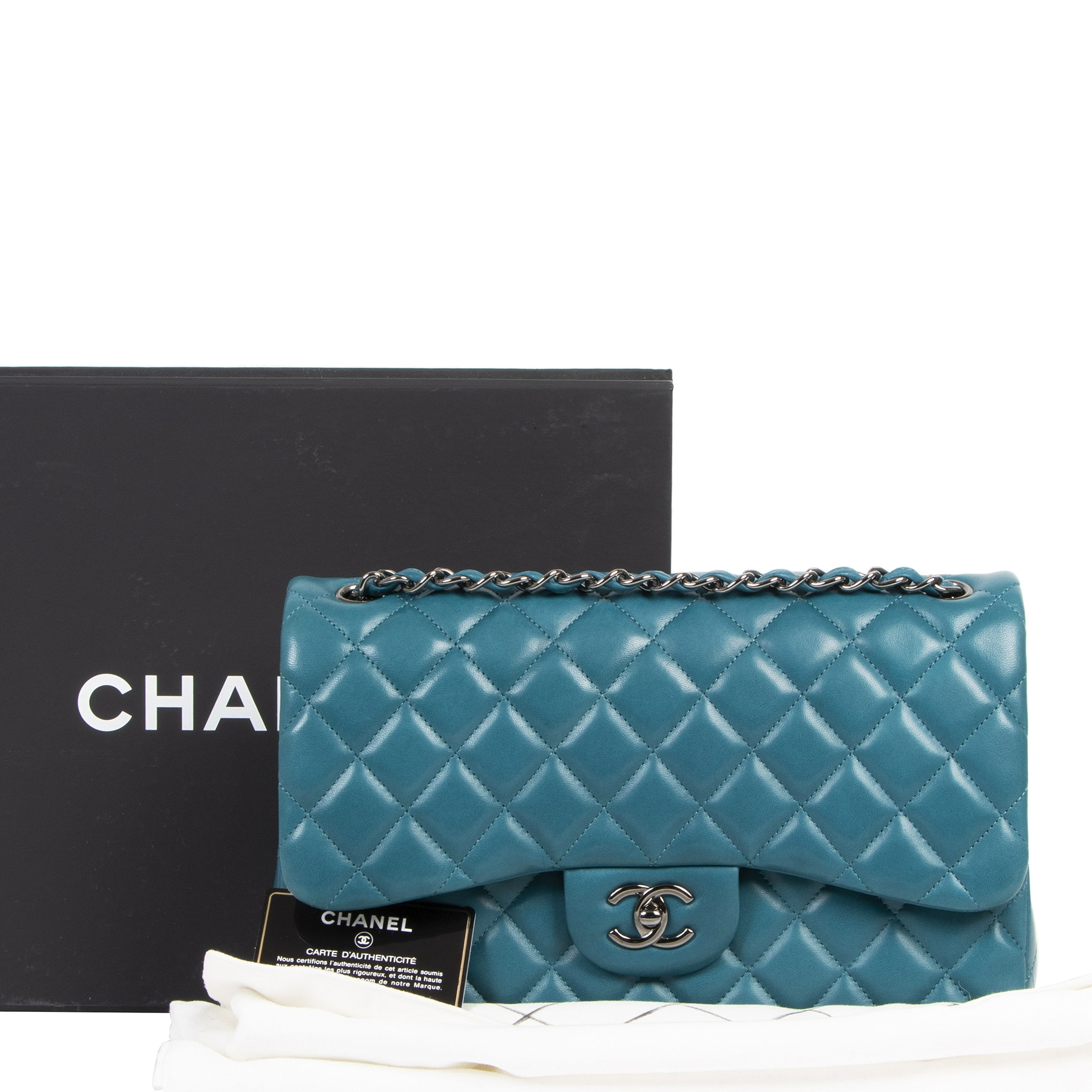 Chanel Jumbo Classic Flap Bag Lambskin Teal RHW for the best price at labellov