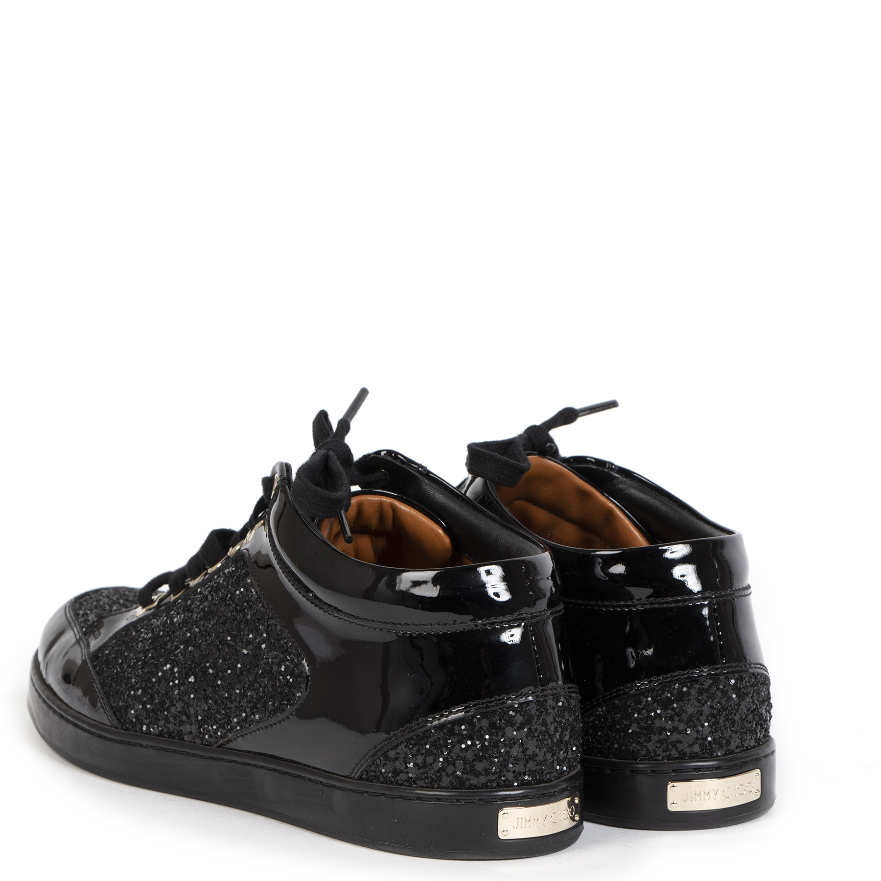 Authentieke tweedehands vintage Jimmy Choo Miami Patent Leather Glitter Sneakers koop online webshop LabelLOV