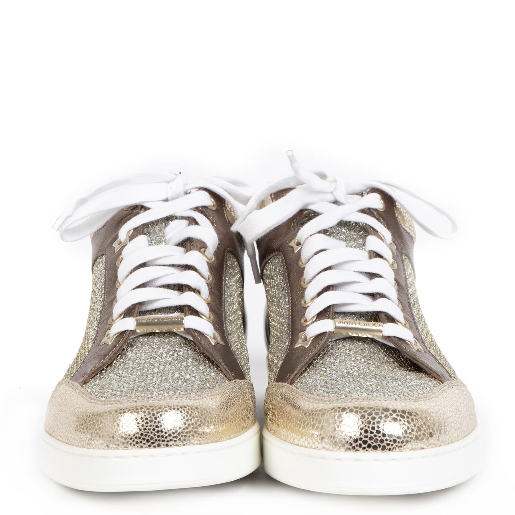 Authentieke tweedehands vintage Jimmy Choo Miami Bronze Champagne Sneakers koop online webshop LabelLOV