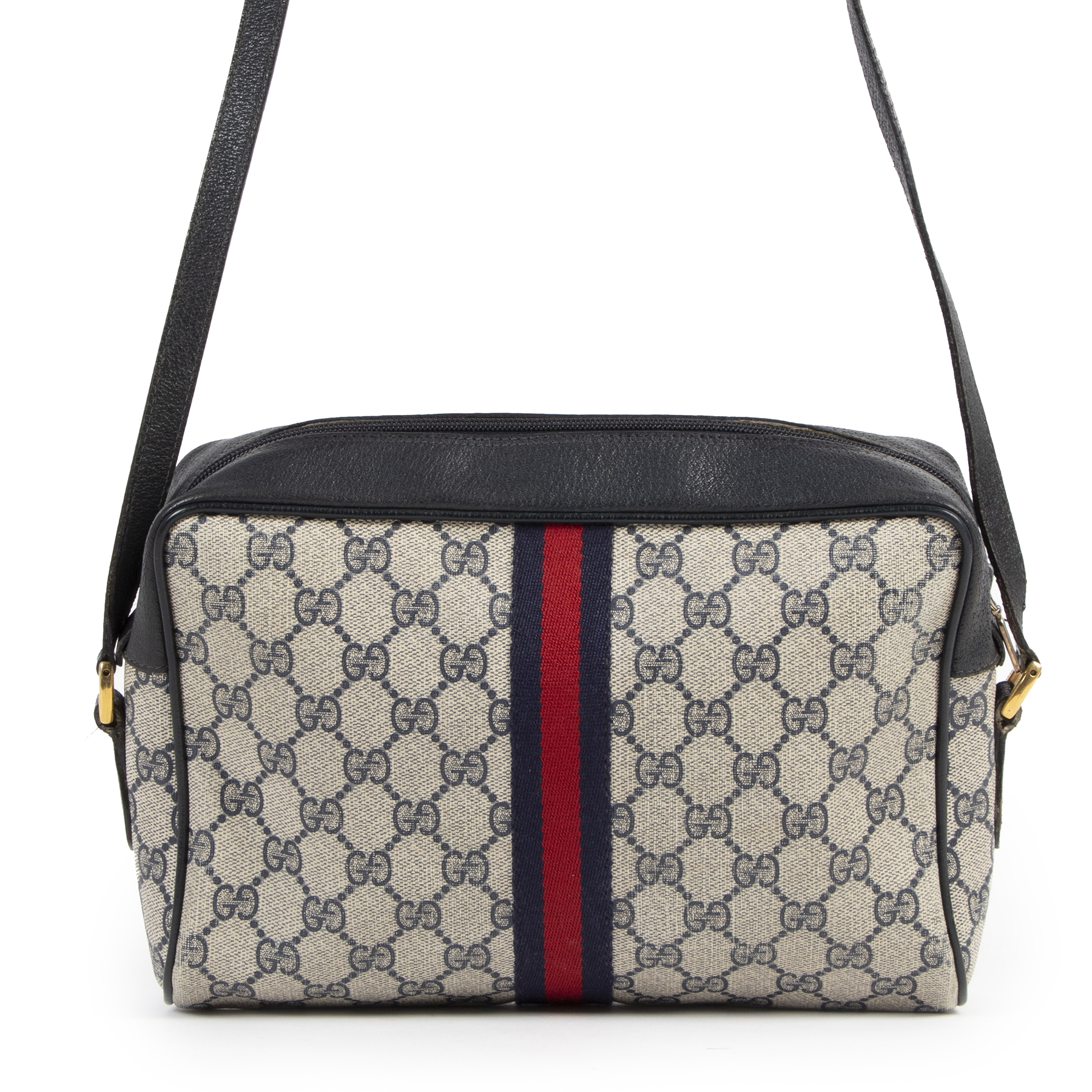 Authentic secondhand Gucci Web Monogram Blue Stripe Crossbody Bag designer bags luxury vintage webshop fashion safe secure online shopping