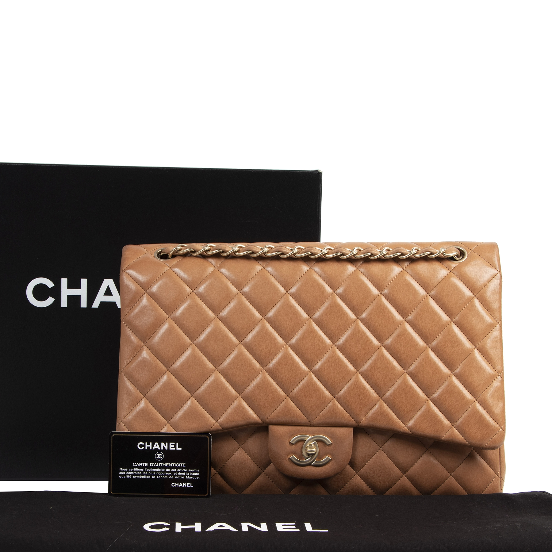 Chanel Jumbo Camel Lambskin Classic Flap Bag  online at the best price