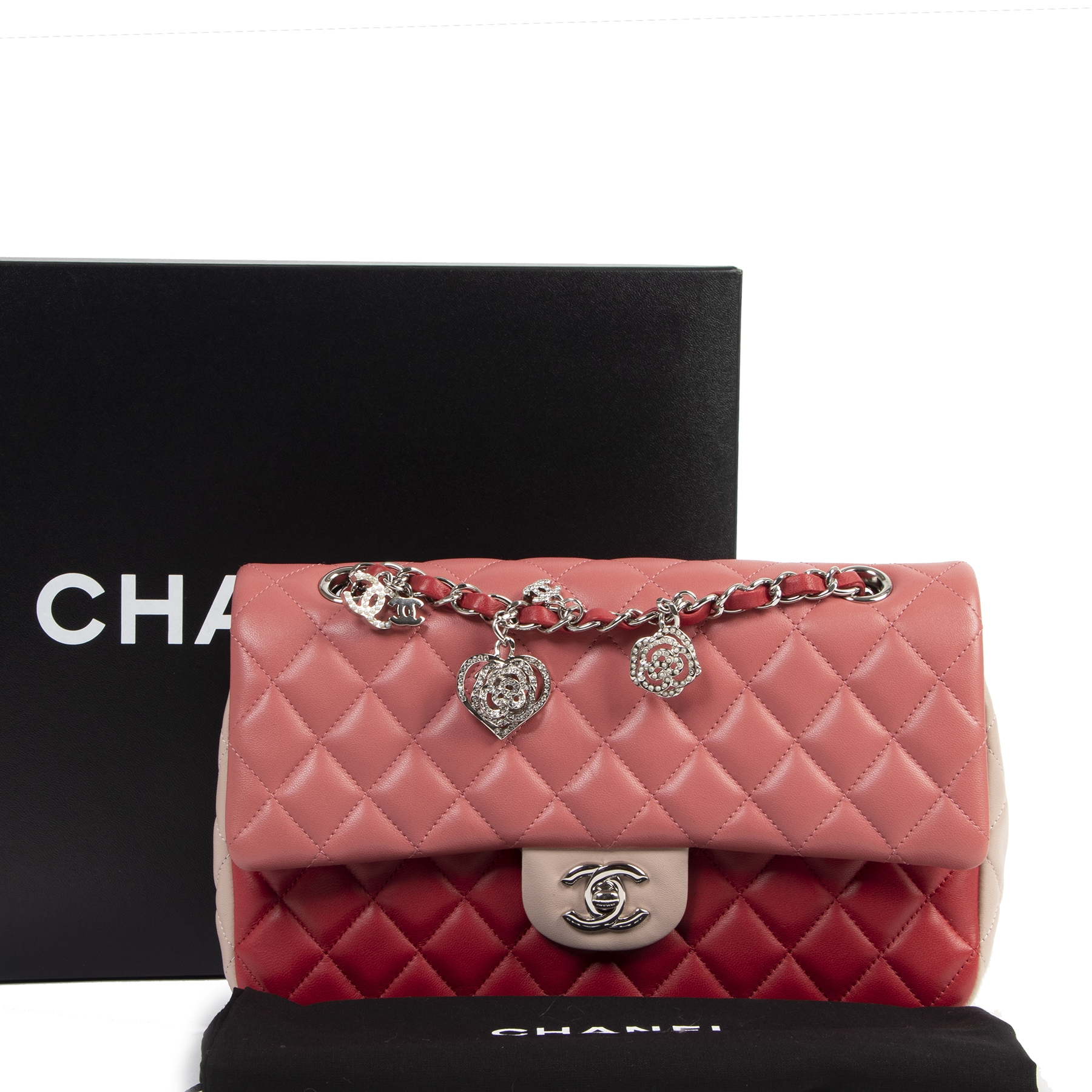 skip the waitinglist shop safe online Chanel Tricolor Quilted Valentine Crystal Hearts Flap Bag