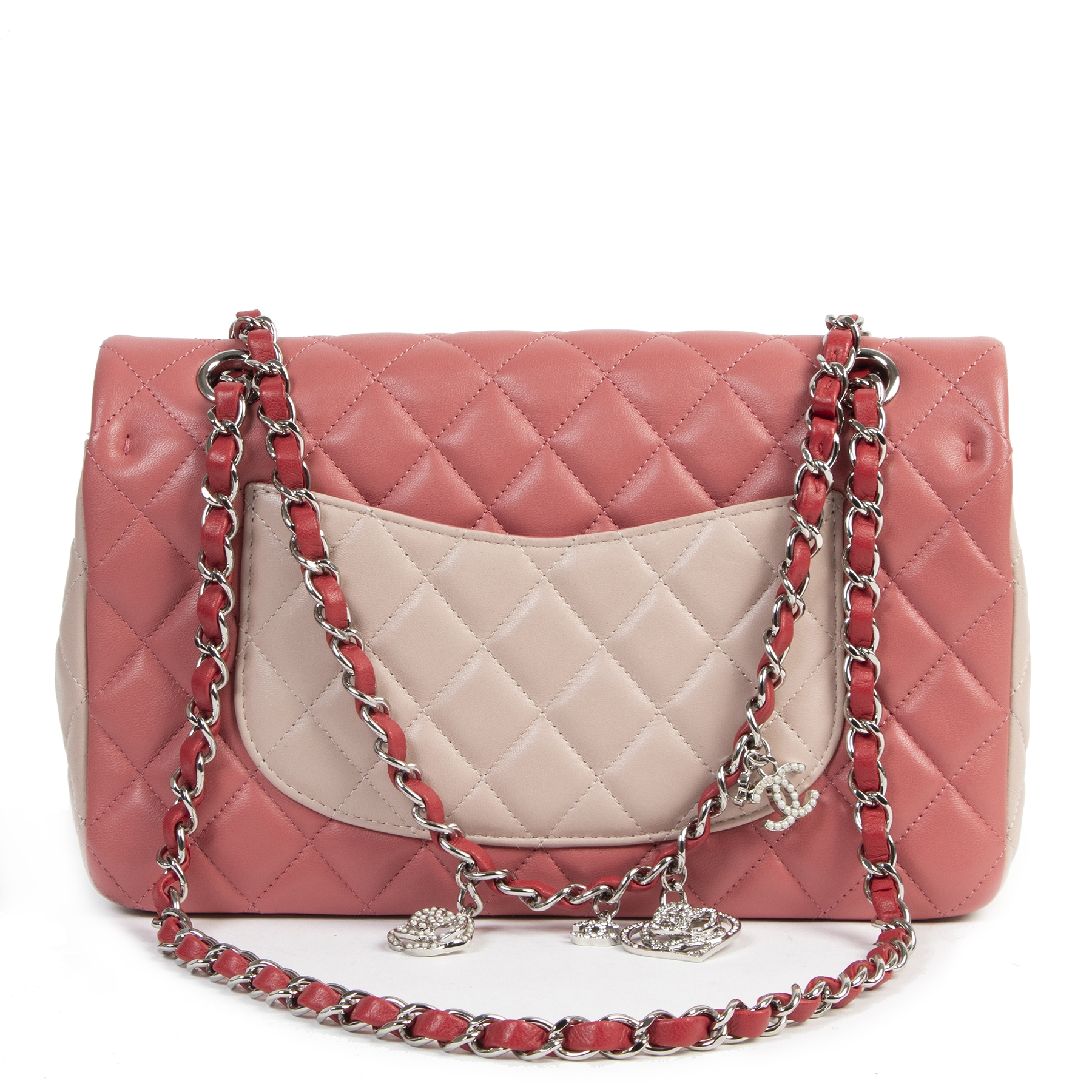 shop safe online Chanel Tricolor Quilted Valentine Crystal Hearts Flap Bag