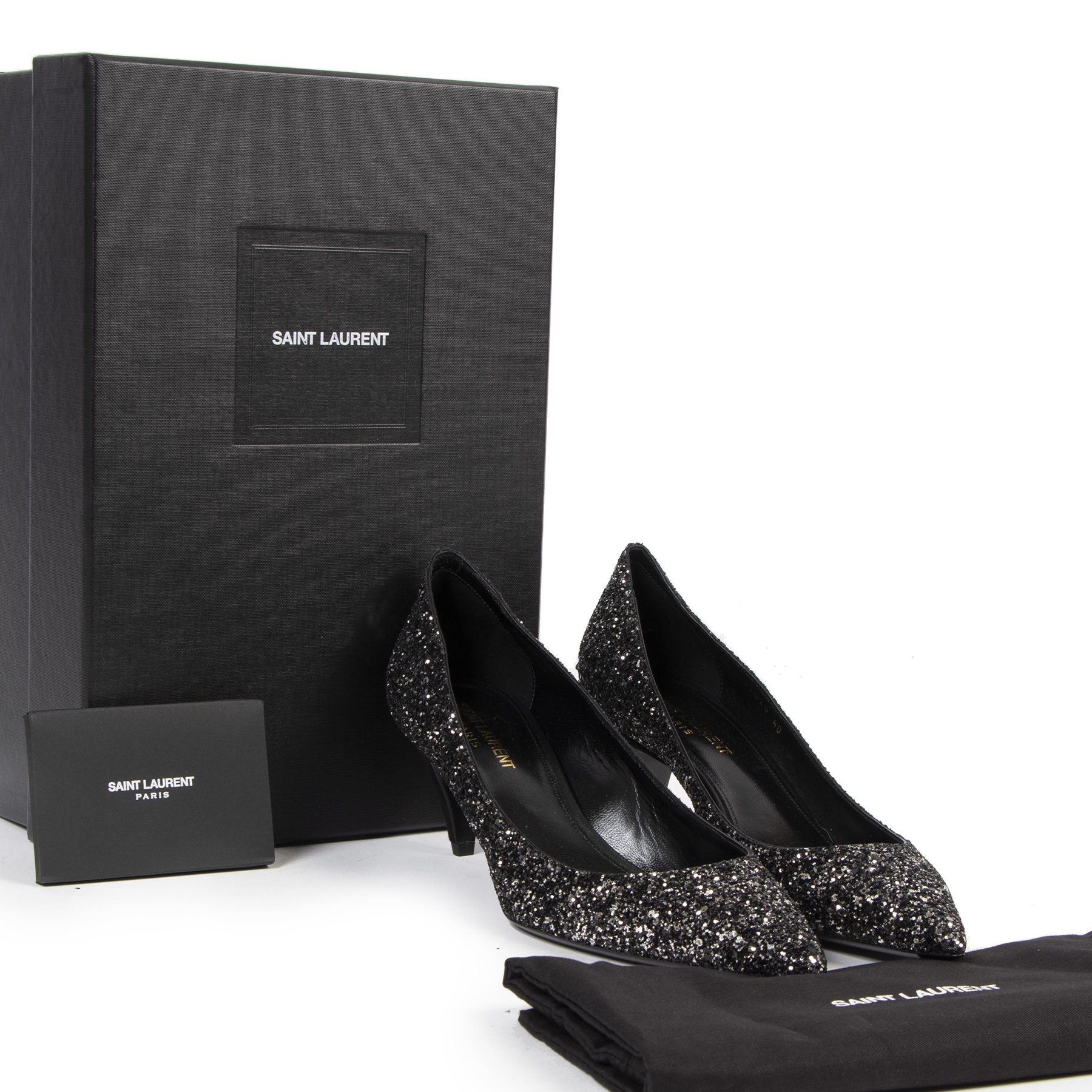 Saint Laurent Charlotte 55 Midnight Blue Glitter Pump available online