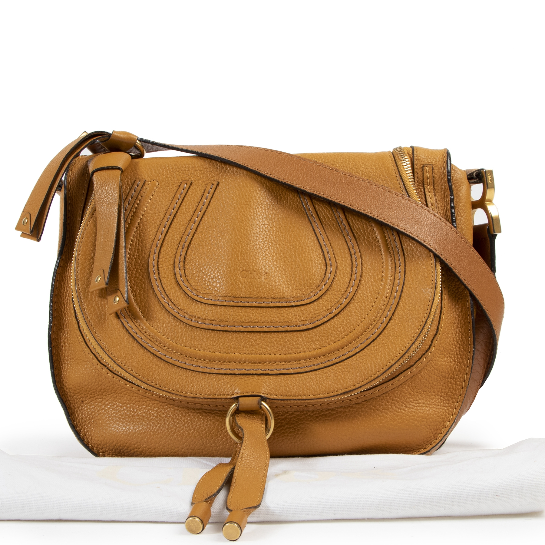 shop safe online Chloe Ochre Medium Marcie Zip Crossbody Bag