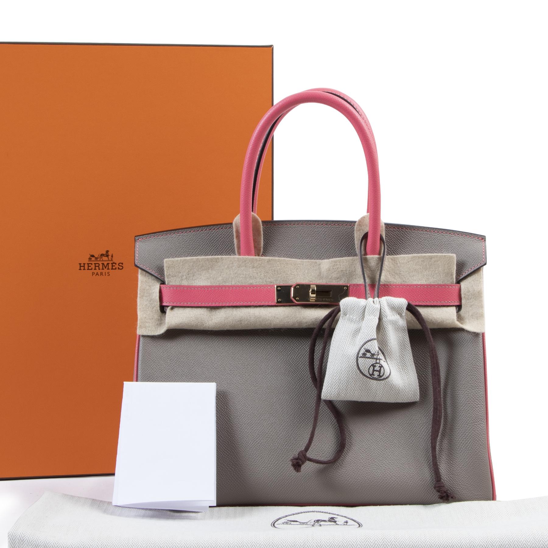 2020 most wanted designer handbag HSS *Special order* Hermès Birkin 30 Epsom Gris Asphalt / Rose Azalee online at Labellov