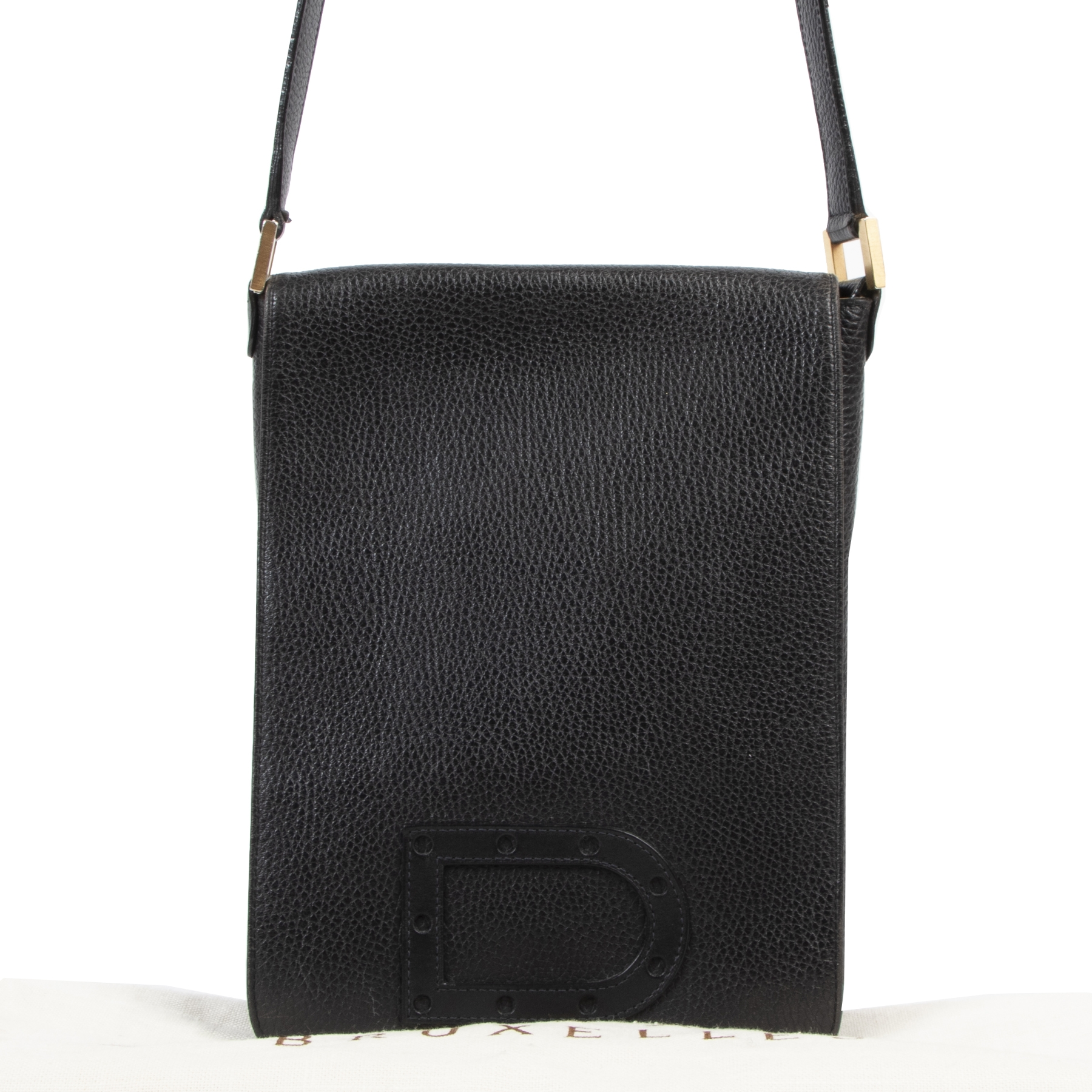 Delvaux Black Leather Louise Baudrier PM Bag