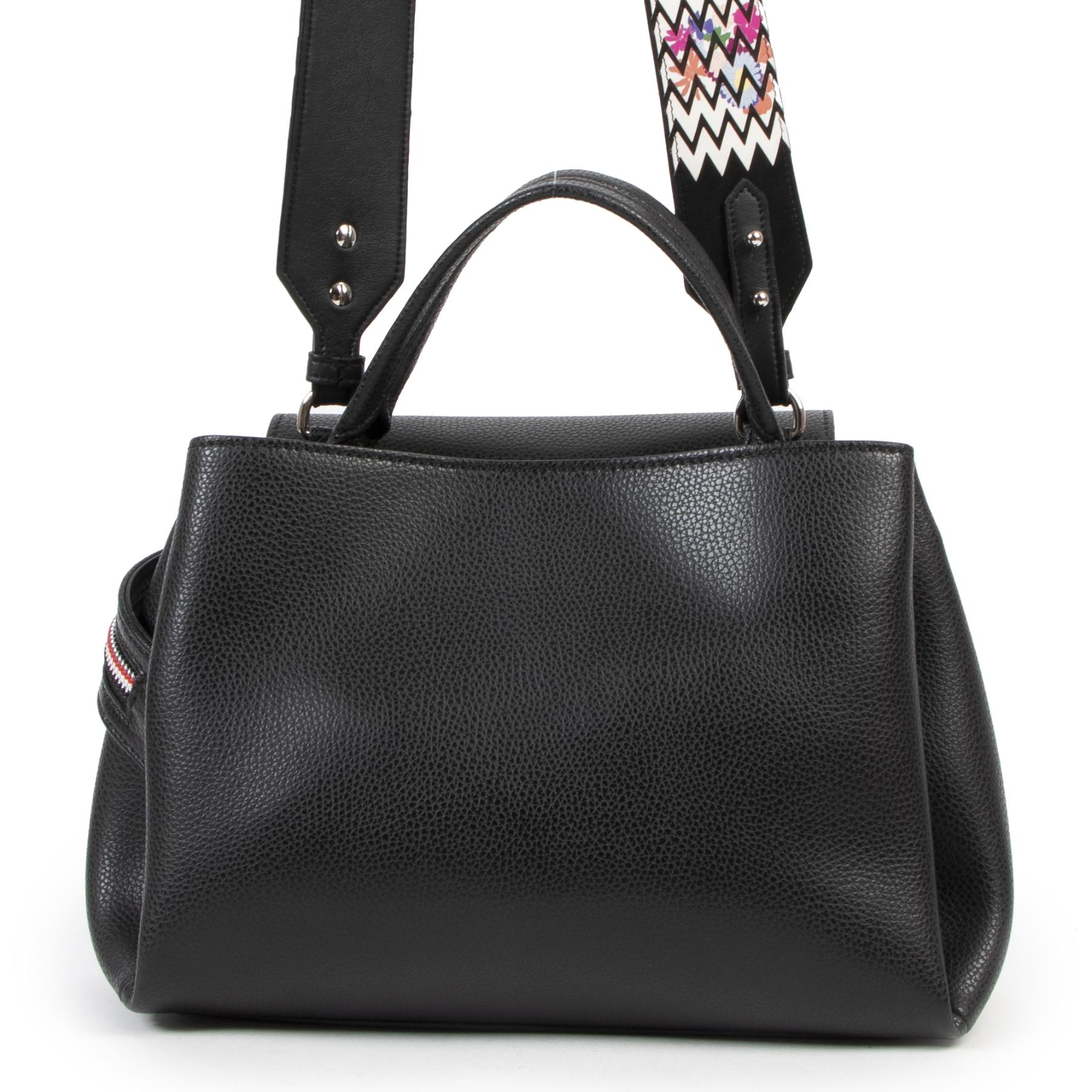 Authentieke Tweedehands Hogan Black Leather Zipper Shoulder Bag juiste prijs veilig online shoppen luxe merken webshop winkelen Antwerpen België mode fashion