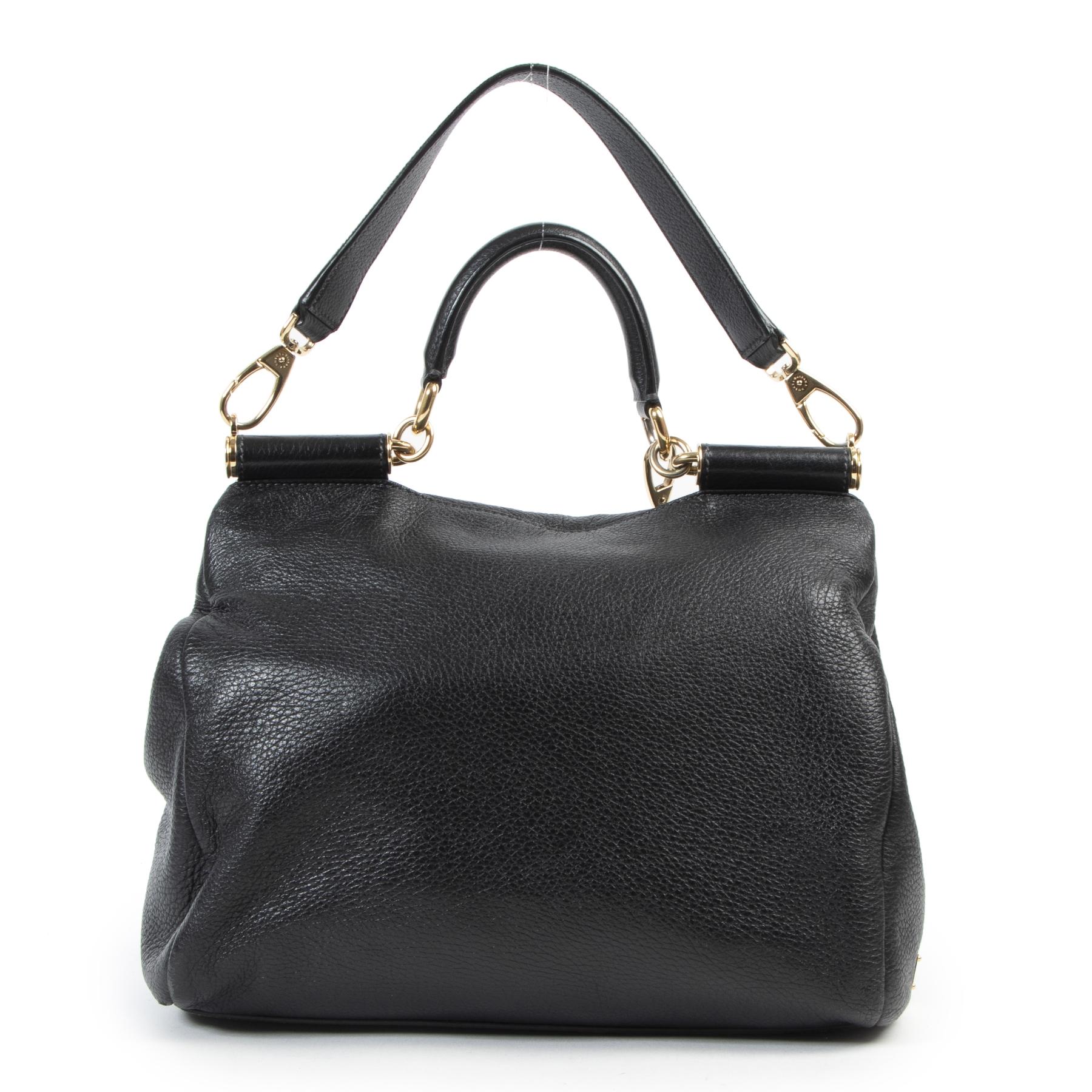 Authentieke Tweedehands Dolce & Gabbana Black Leather Shoulder Bag juiste prijs veilig online shoppen luxe merken webshop winkelen Antwerpen België mode fashion