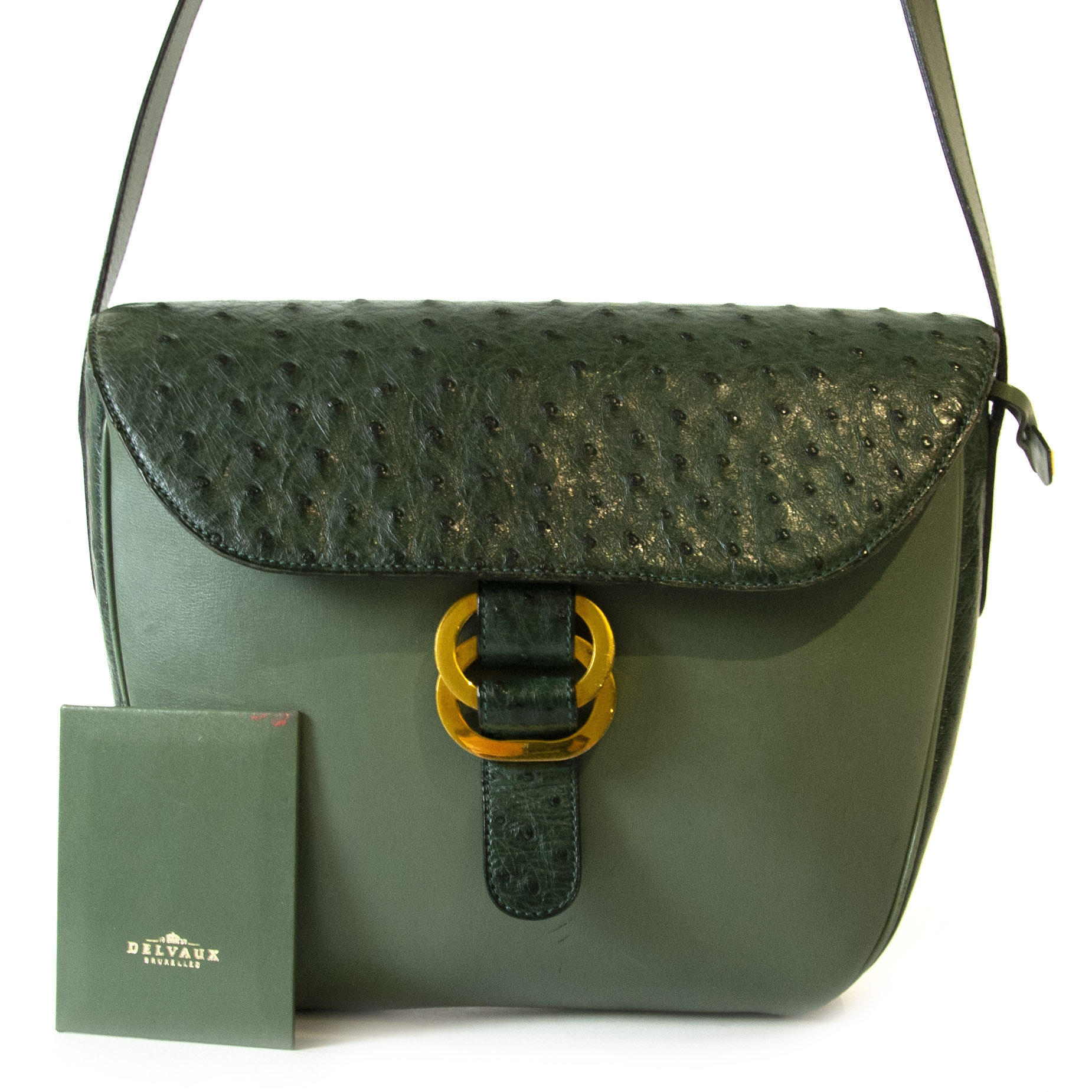 shop safe online Delvaux Dark Green Ostrich Flap Shoulder Bag