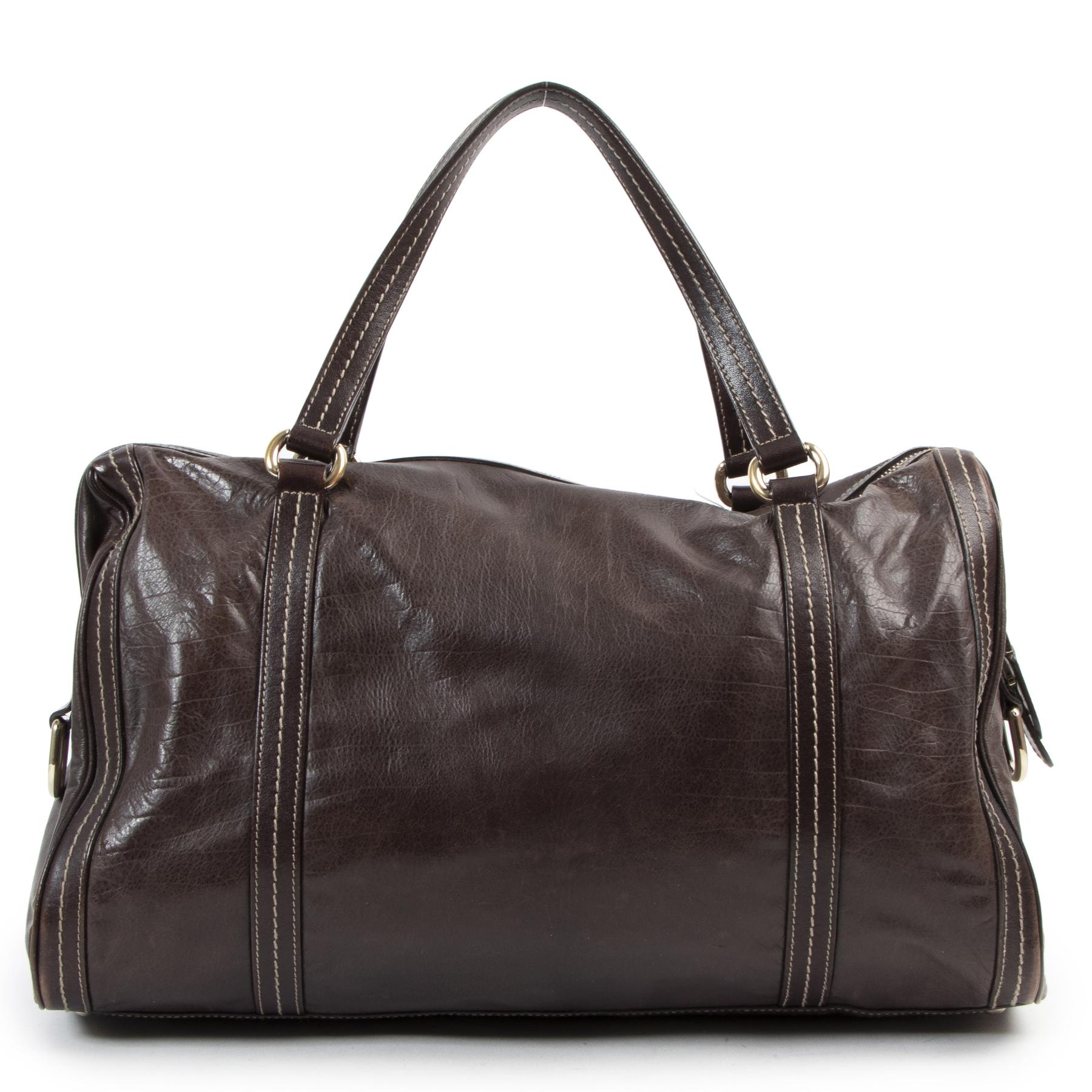 Authentieke Tweedehands Gucci Dark Brown Leather Duchessa Boston Bag juiste prijs veilig online shoppen luxe merken webshop winkelen Antwerpen België mode fashion