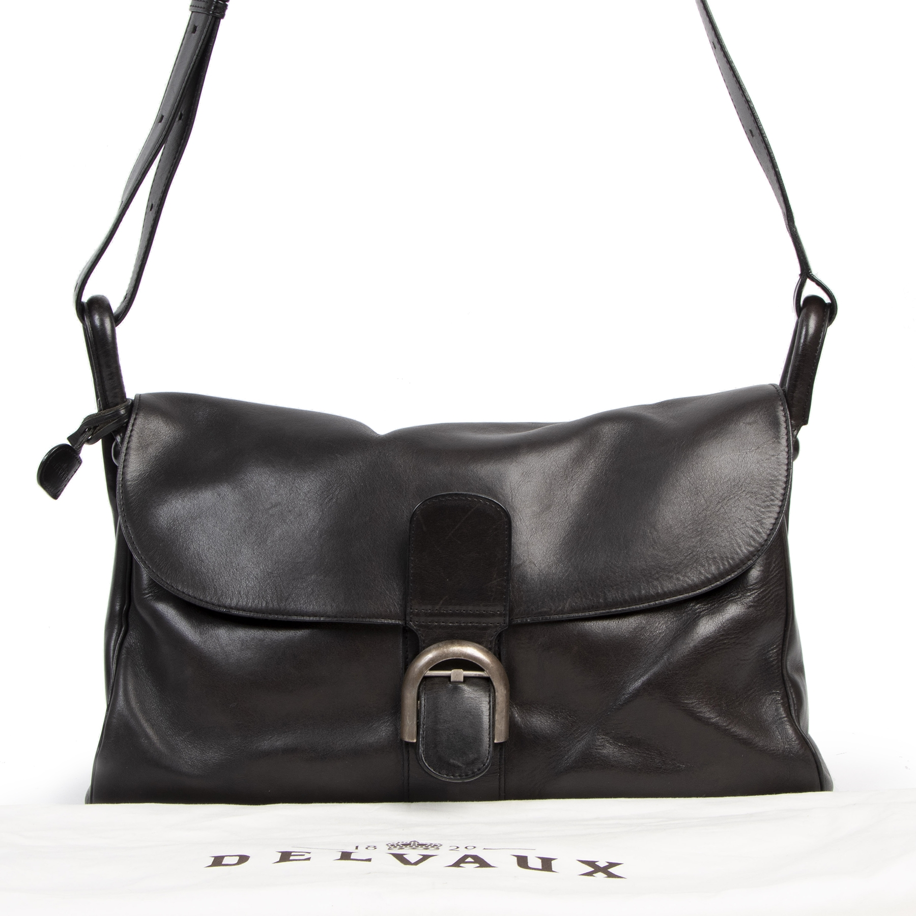 Authentic second-hand vintage Delvaux Black Brillant Besace Shoulder Bag buy online webshop LabelLOV