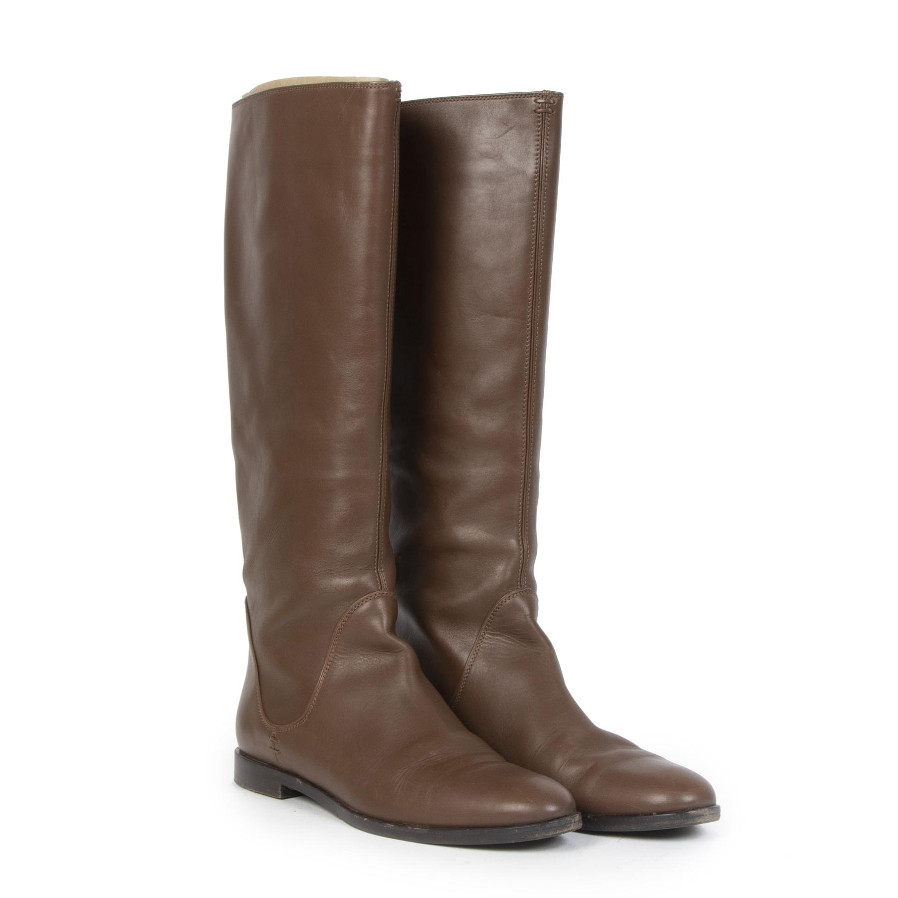 Authentieke Tweedehands Sergio Rossi Brown Leather Boots - Size 38 juiste prijs veilig onine shoppen luxe merken webshop winkelen Antwerpen België mode fashion